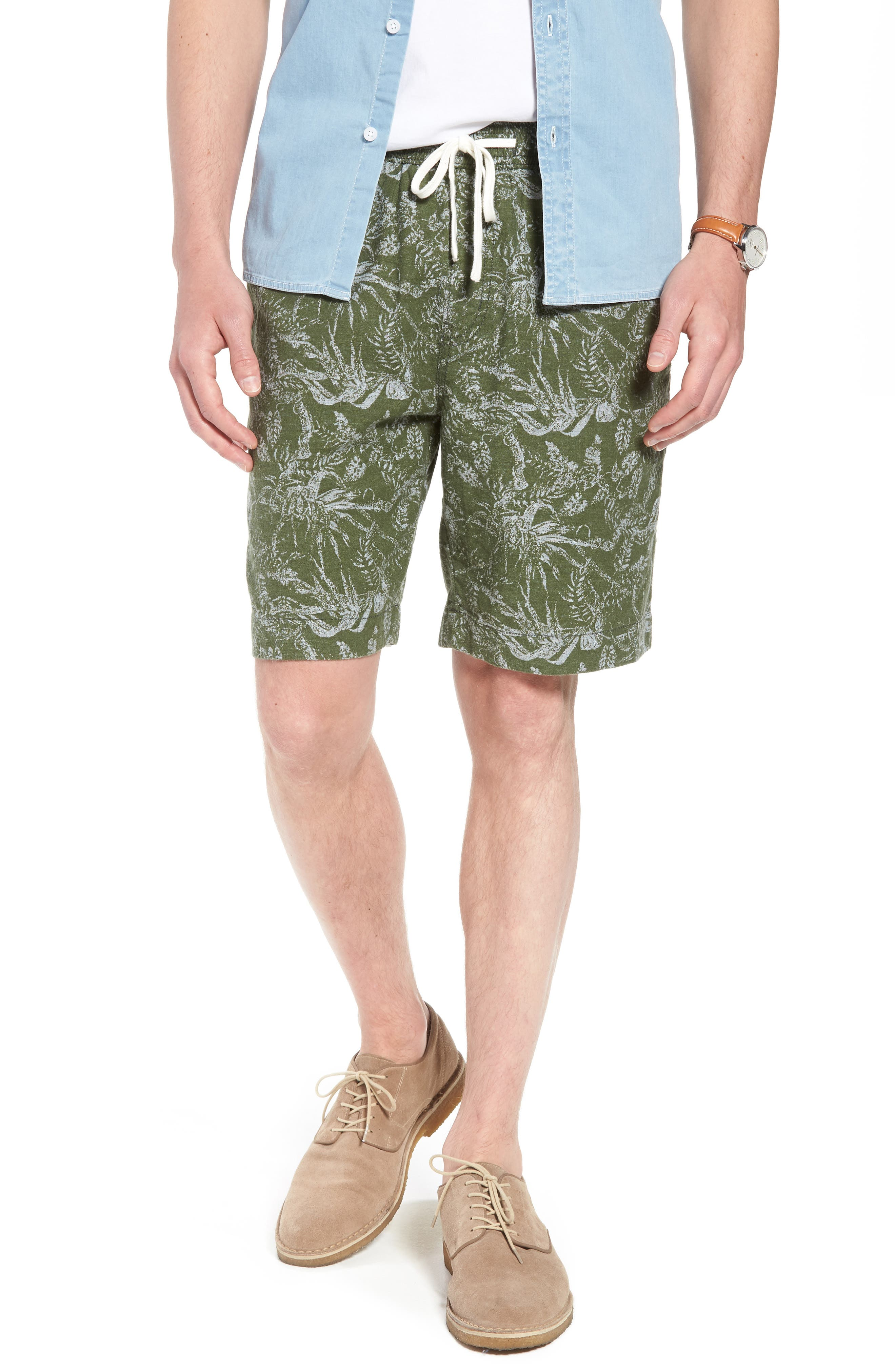 E-Waist Print Linen Blend Shorts,                             Main thumbnail 1, color,                             310