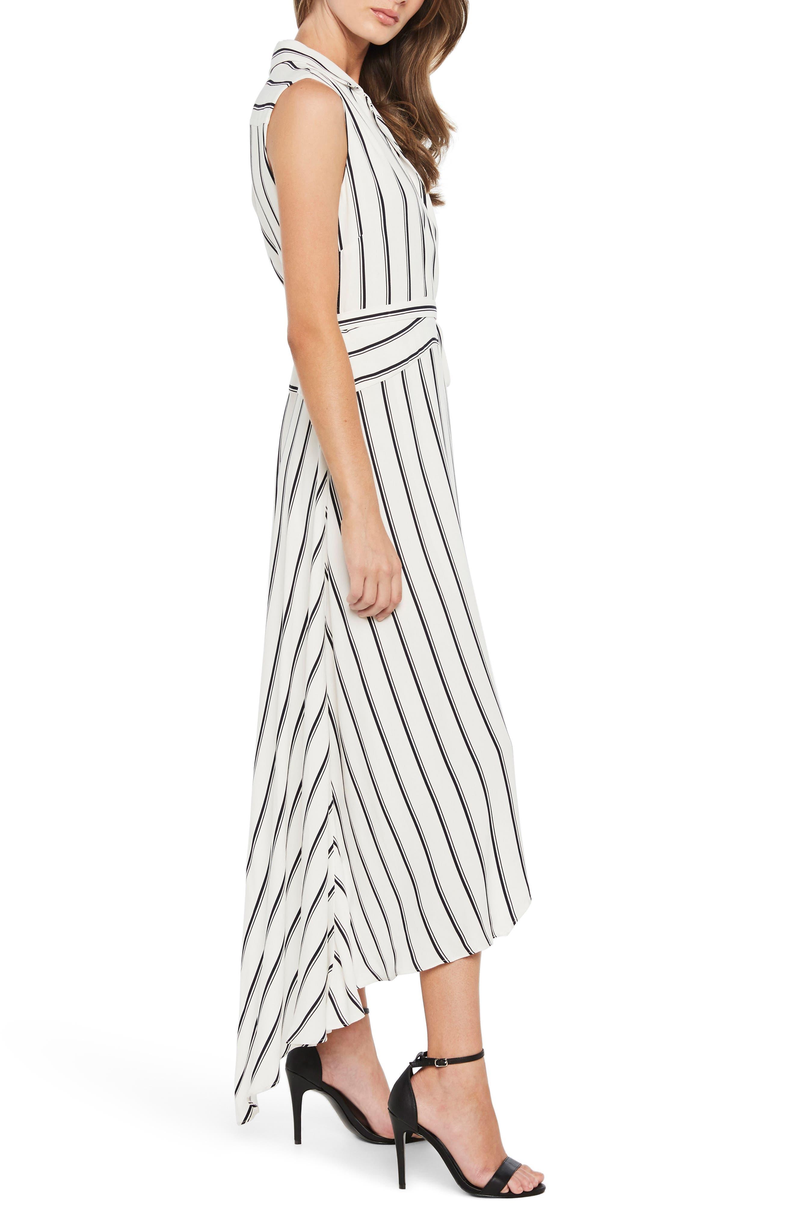 Salina Stripe Asymmetric Wrap Dress,                             Alternate thumbnail 3, color,                             162