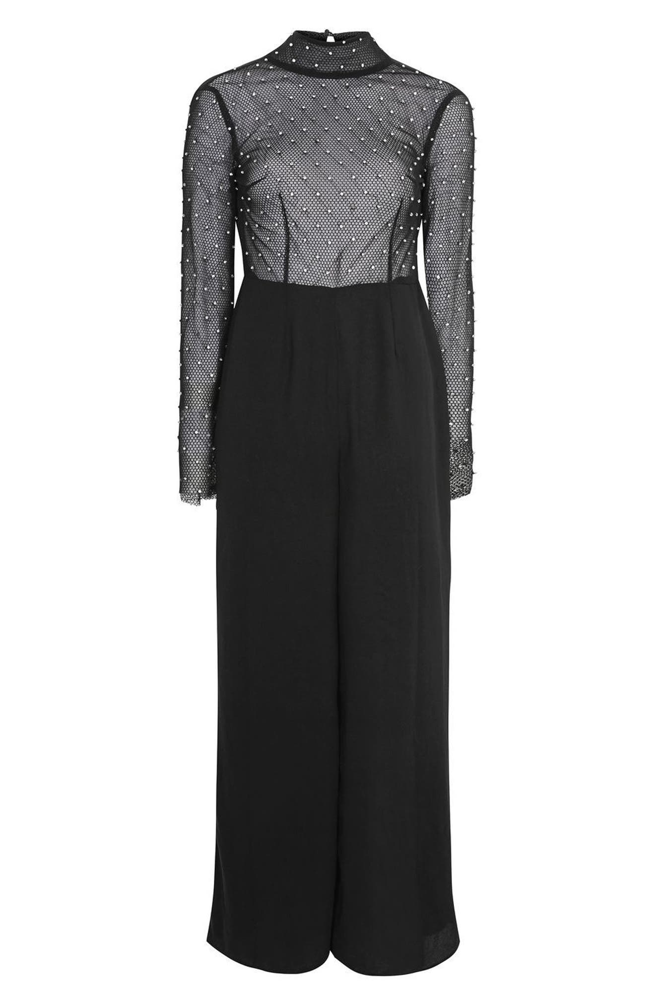 TOPSHOP,                             Diamante Fishnet Jumpsuit,                             Alternate thumbnail 4, color,                             001