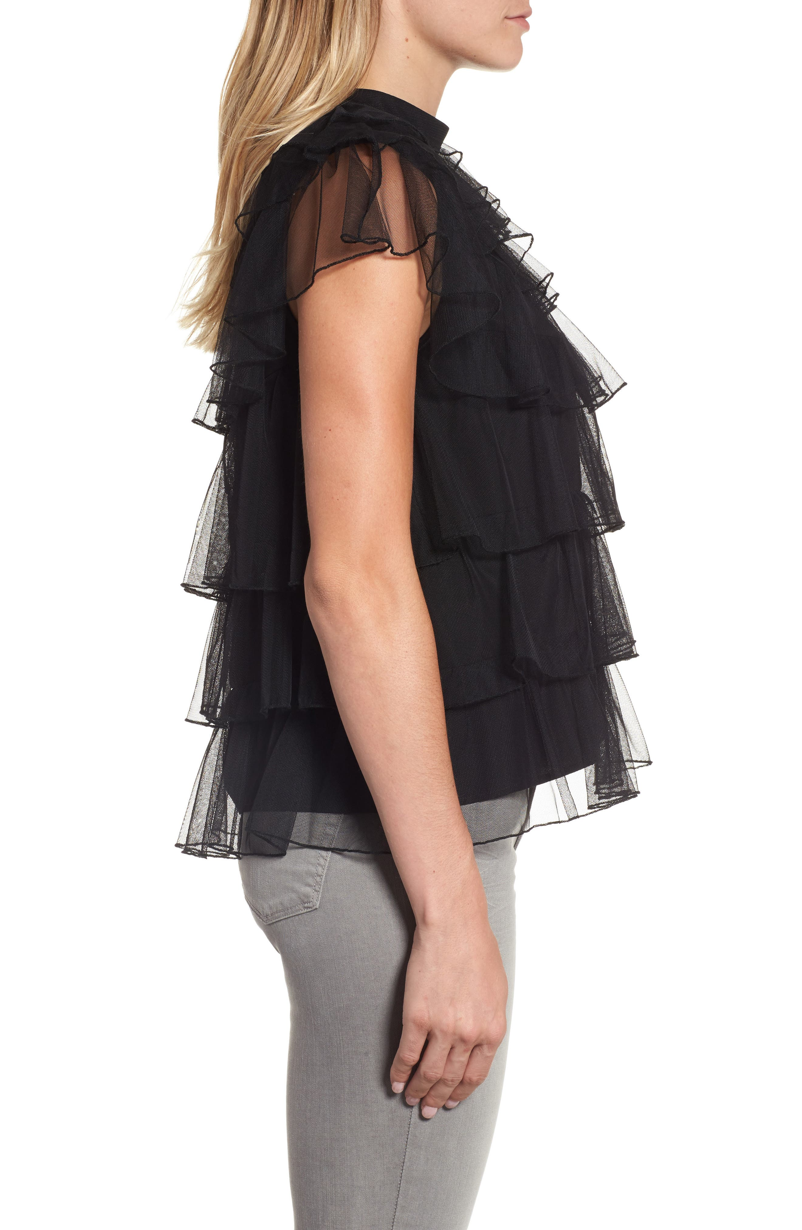Tie Back Tiered Mesh Top,                             Alternate thumbnail 3, color,                             001