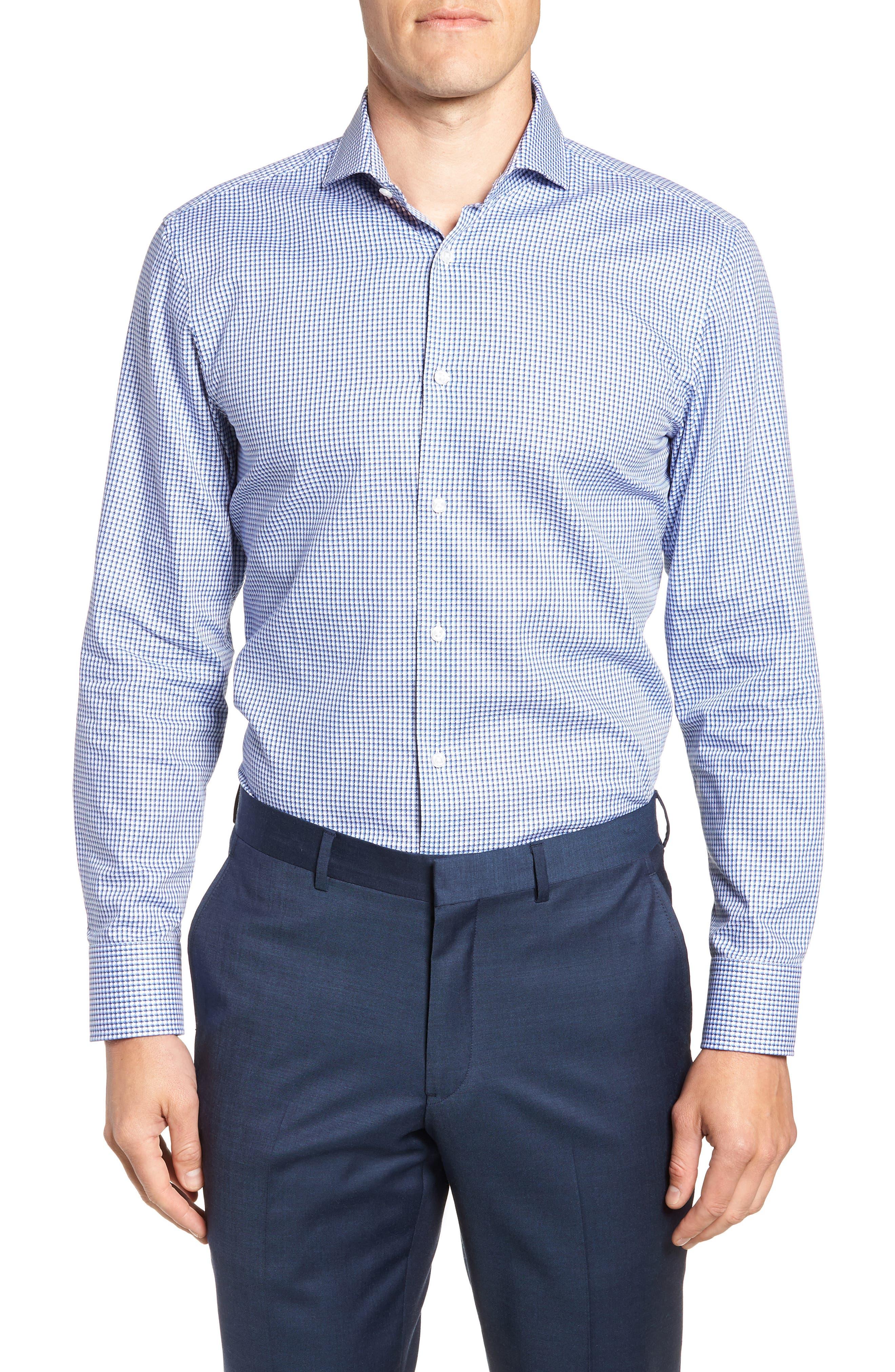 Mark Sharp Fit Check Dress Shirt,                         Main,                         color, BLUE
