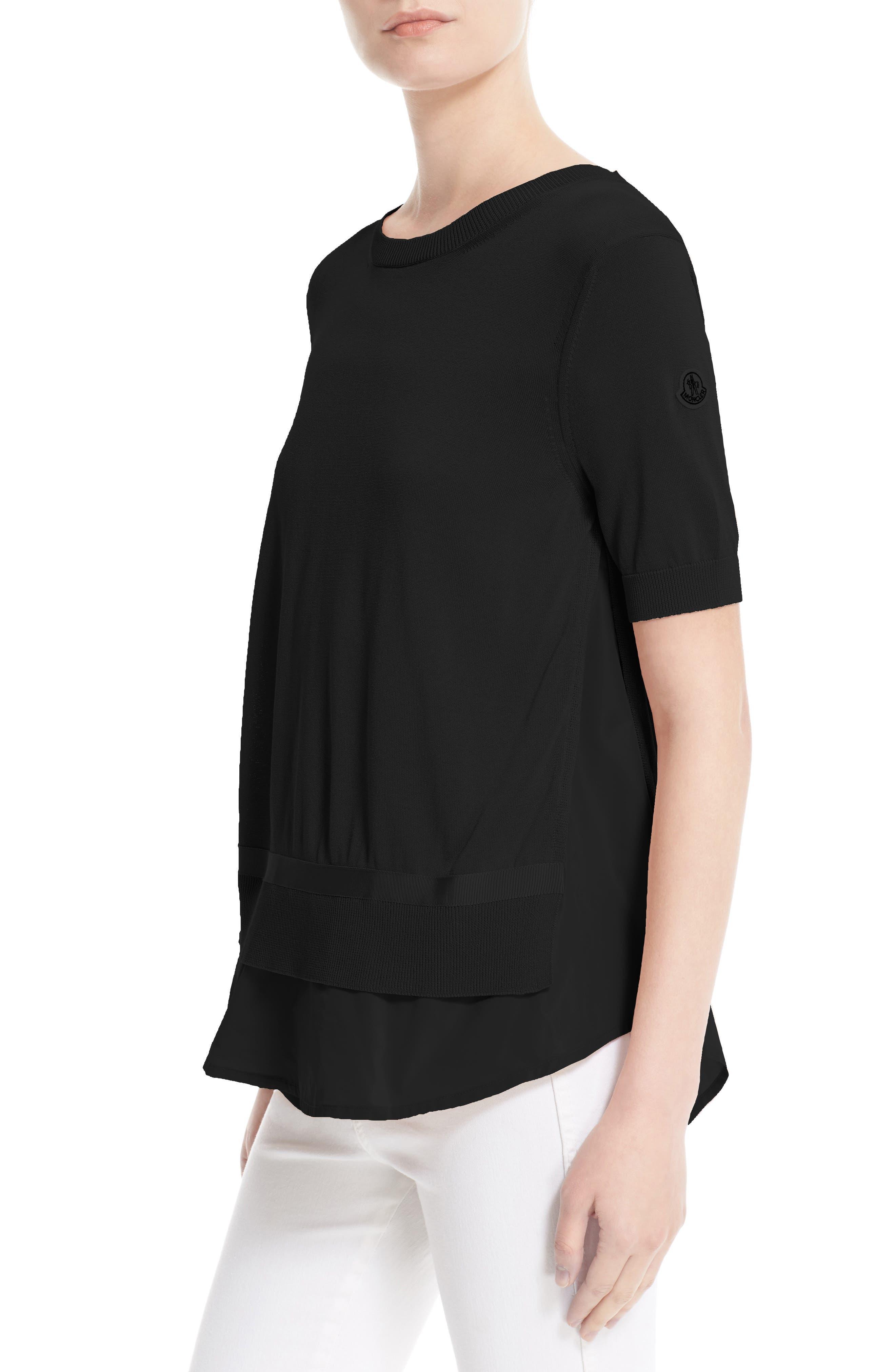 Tricot Knit Top,                             Alternate thumbnail 4, color,                             BLACK