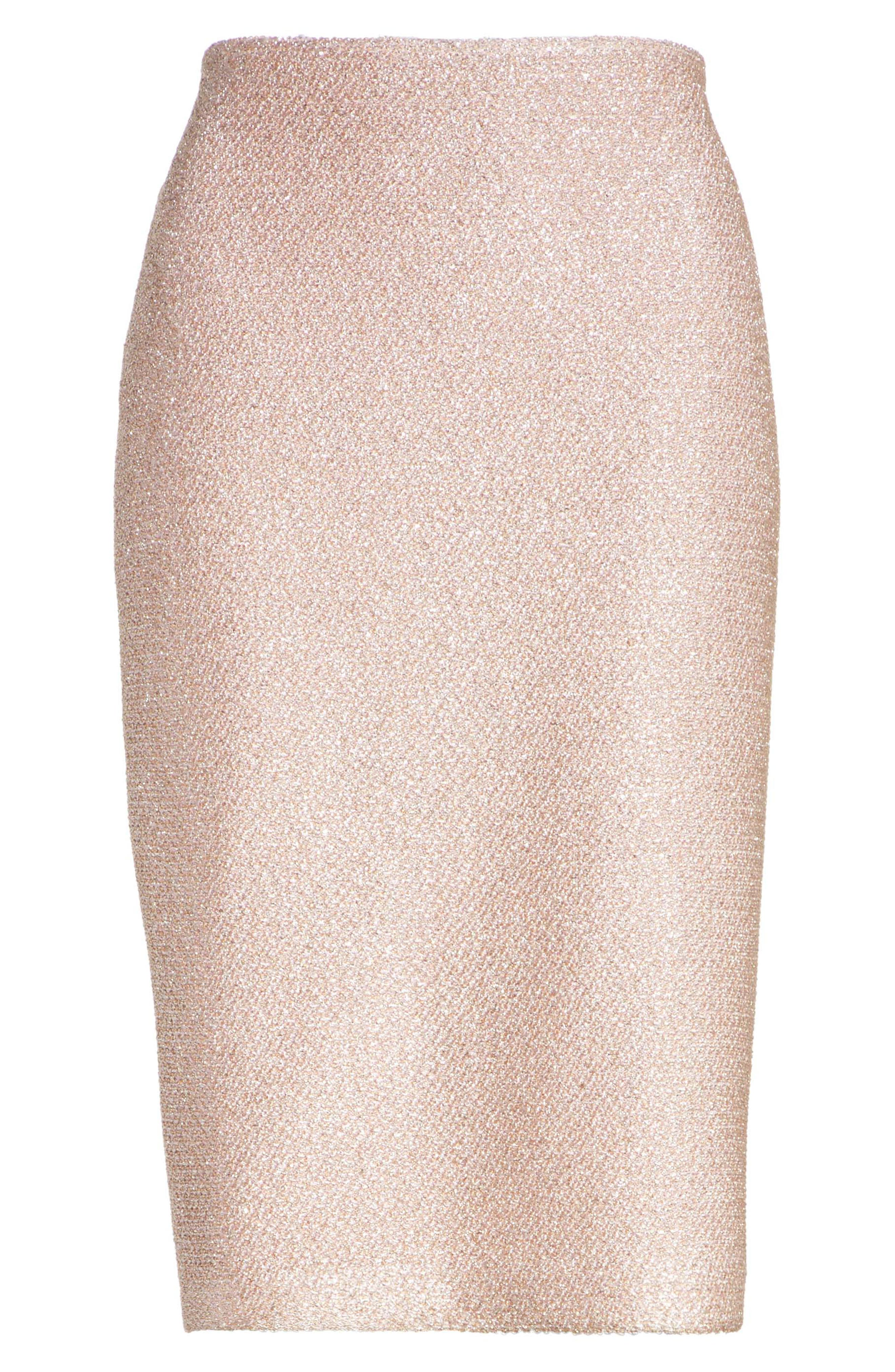 ST. JOHN COLLECTION,                             Frosted Metallic Knit Pencil Skirt,                             Alternate thumbnail 6, color,                             660
