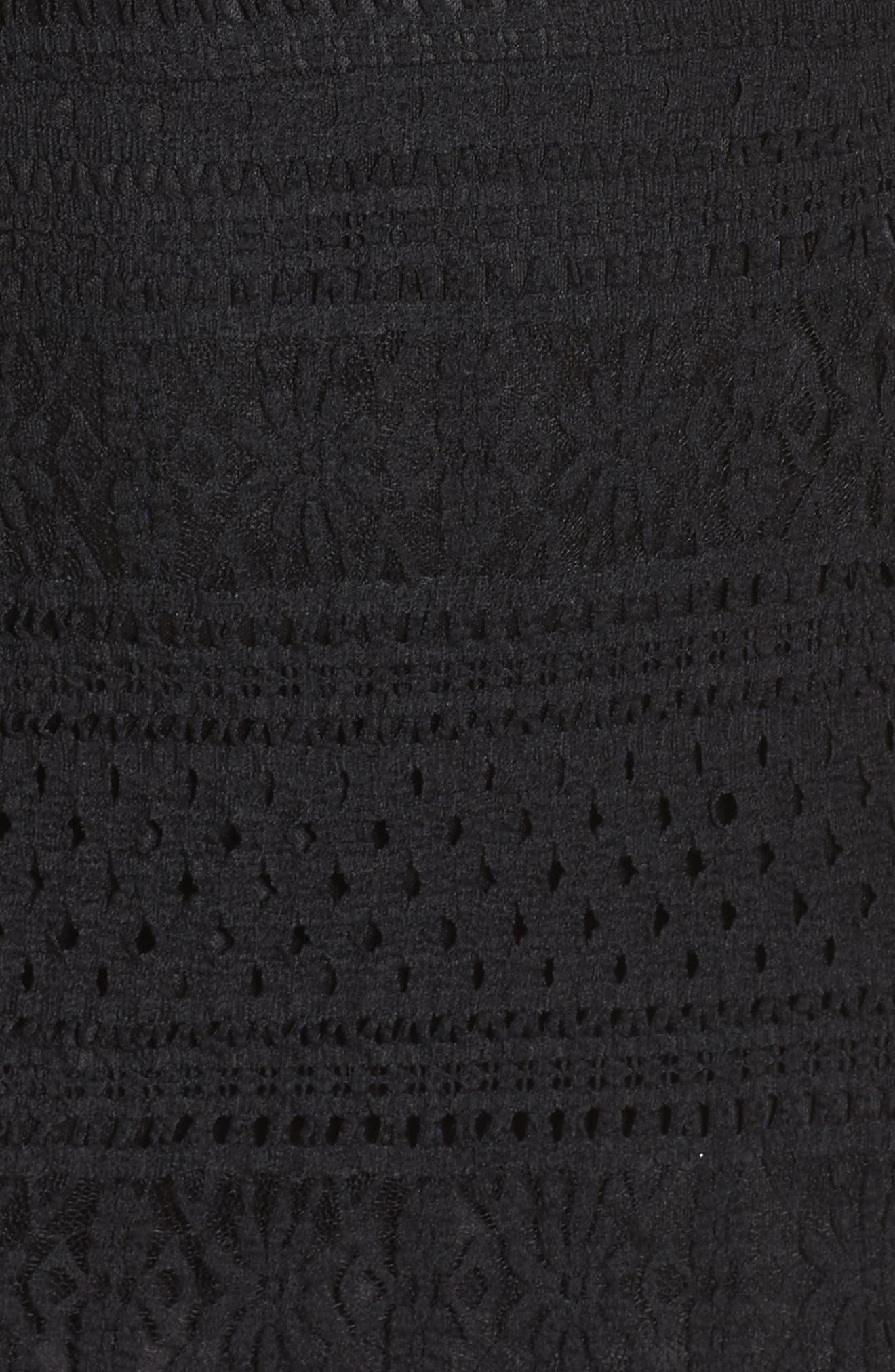 Ellie Fit & Flare Lace Dress,                             Alternate thumbnail 5, color,                             001