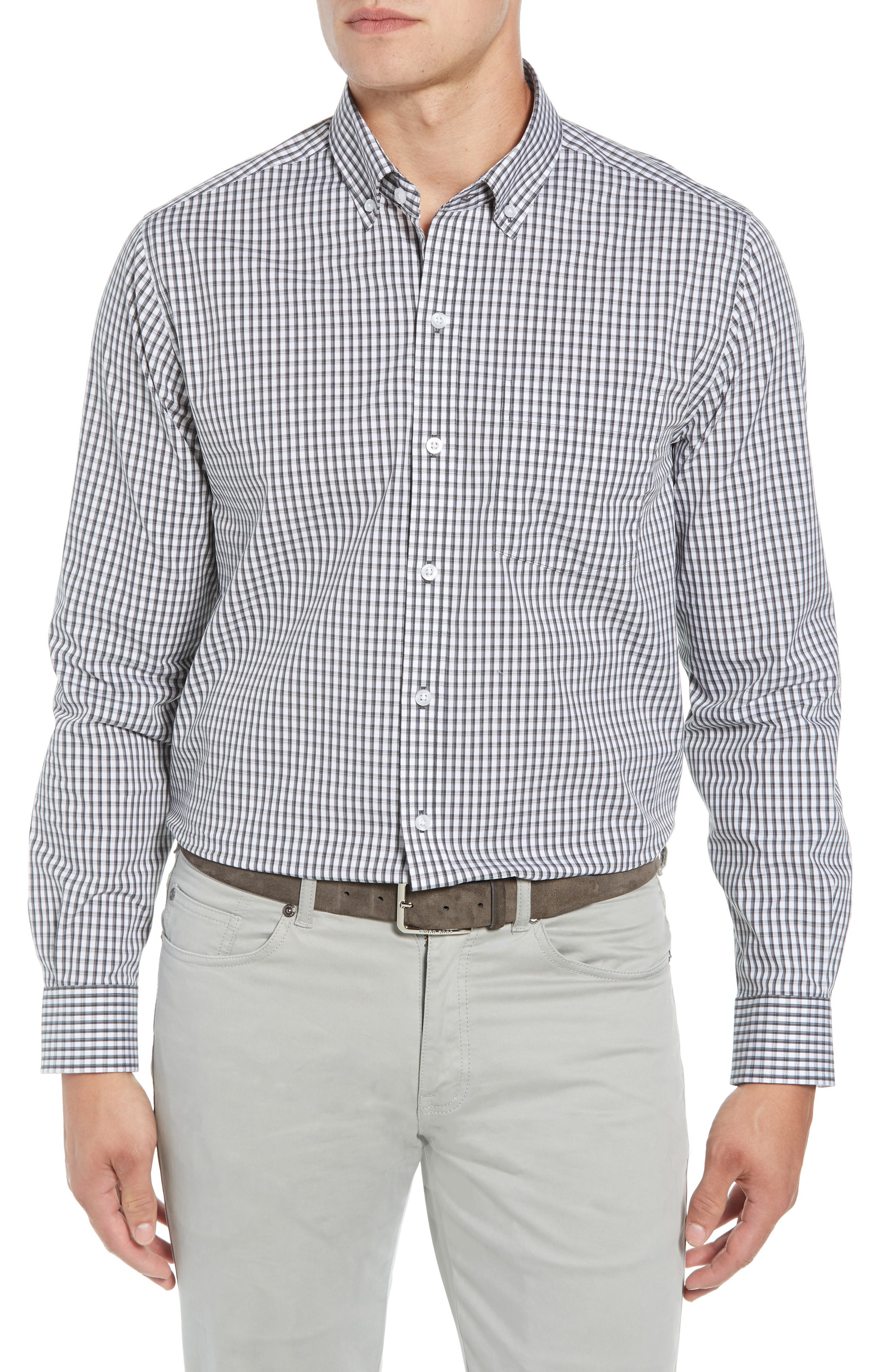 Regular Fit Gingham Non-Iron Sport Shirt,                         Main,                         color, CHARCOAL