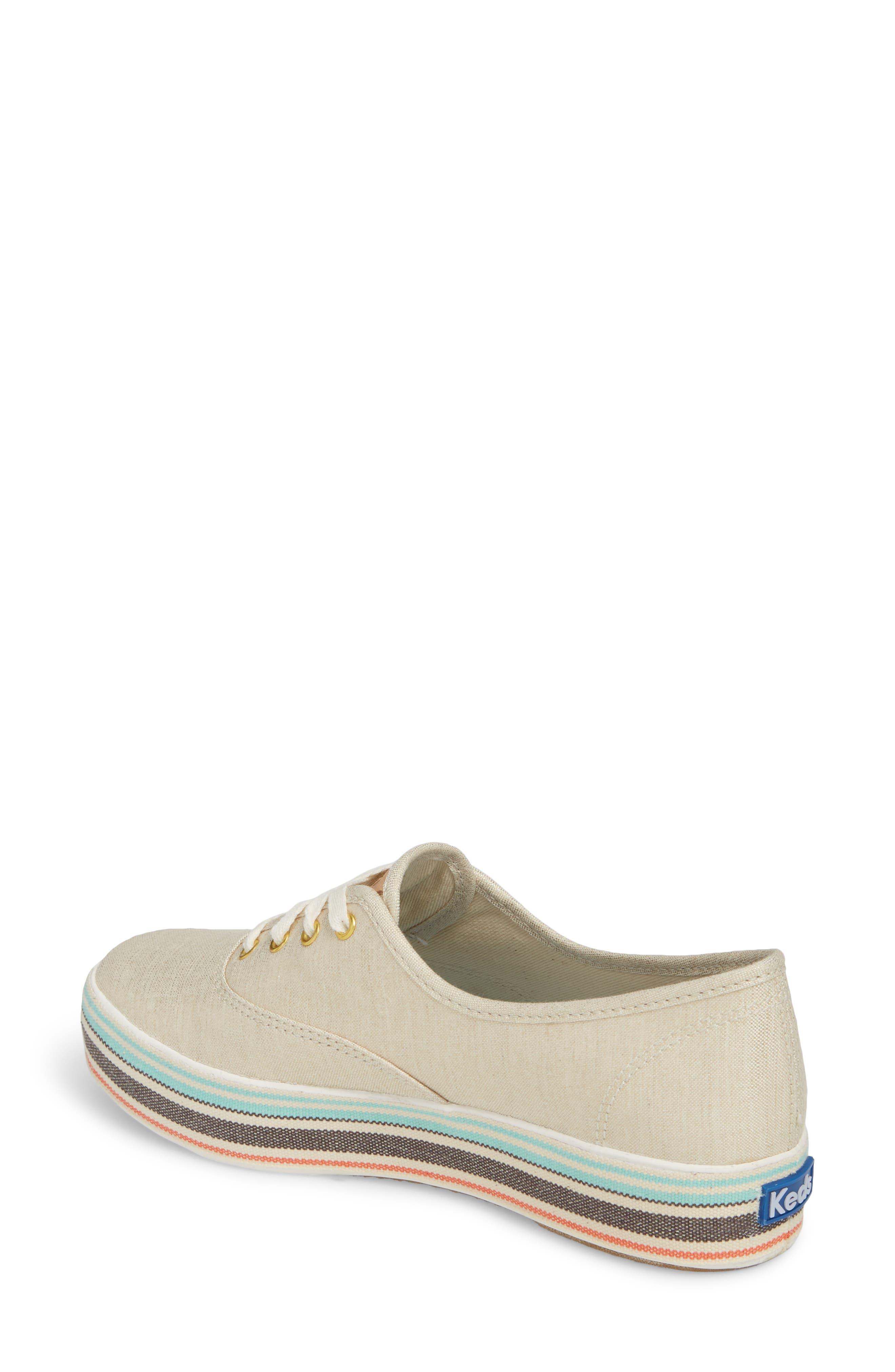 Triple Stripe Foxing Platform Sneaker,                             Alternate thumbnail 2, color,                             250