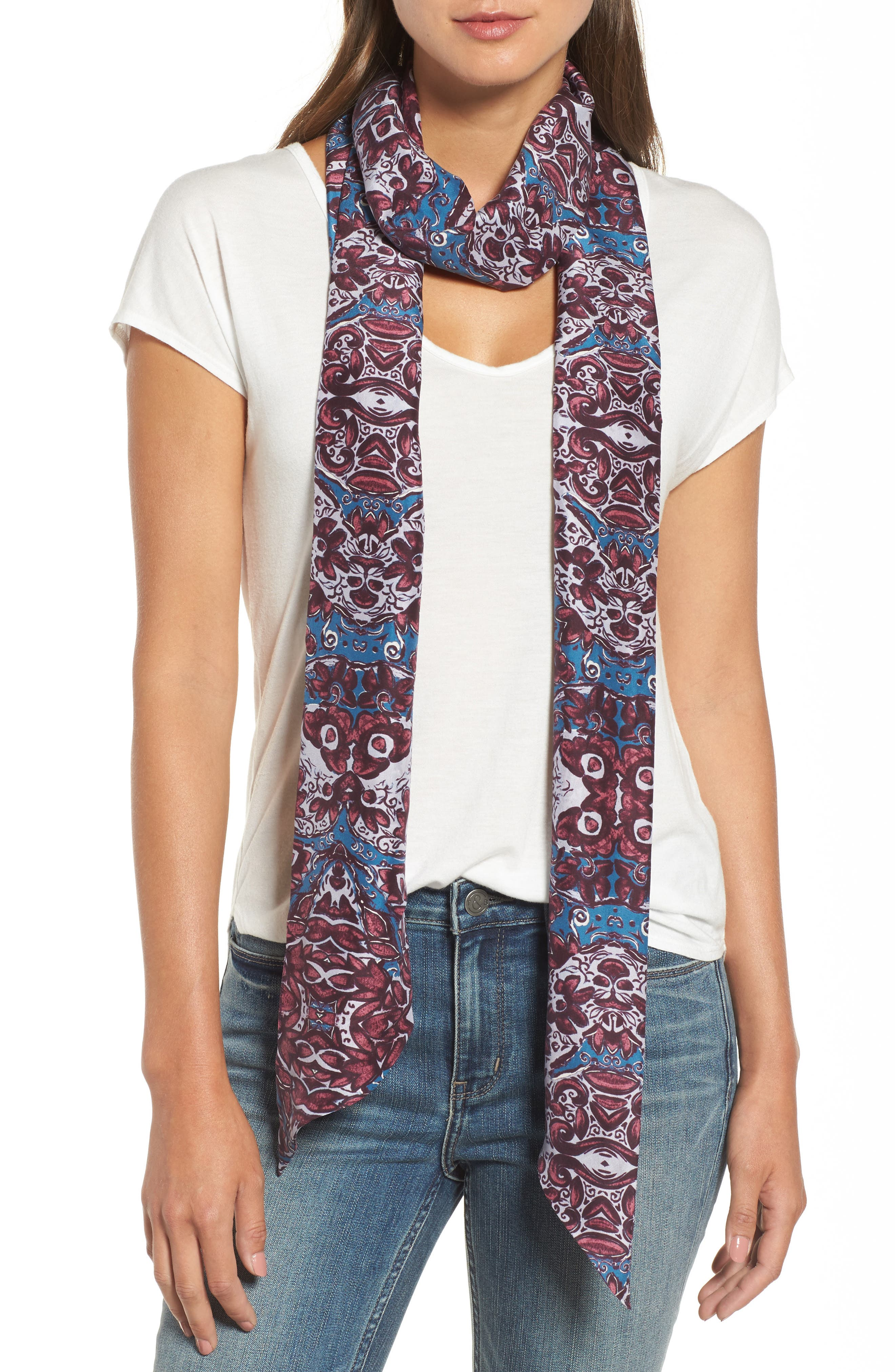 Opulent Tapestry Silk Skinny Scarf,                             Main thumbnail 1, color,                             420