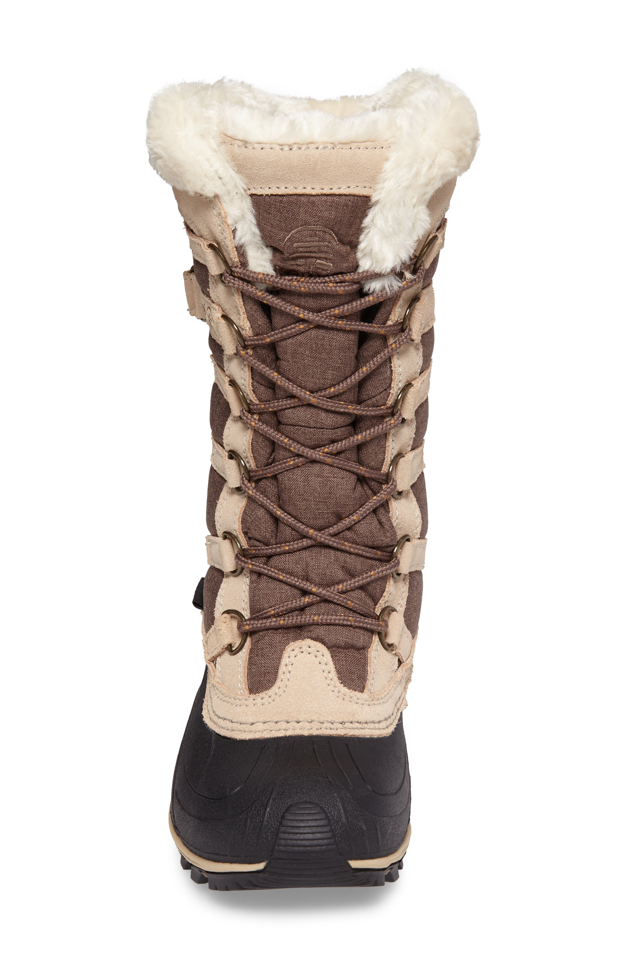 Snowvalley Waterproof Boot with Faux Fur Cuff,                             Alternate thumbnail 4, color,                             BROWN FABRIC