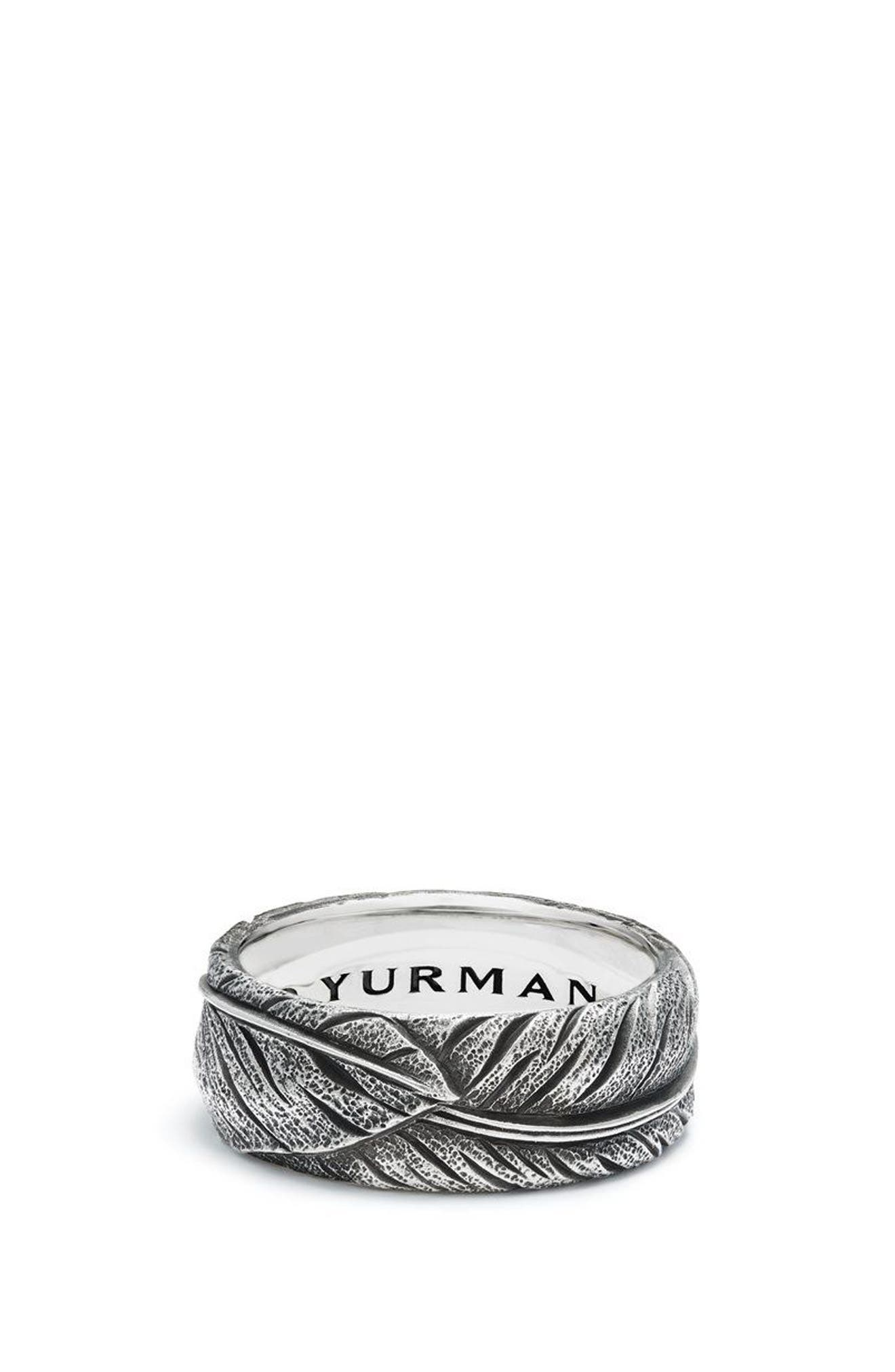 Southwest Narrow Feather Band Ring,                             Main thumbnail 1, color,                             SILVER