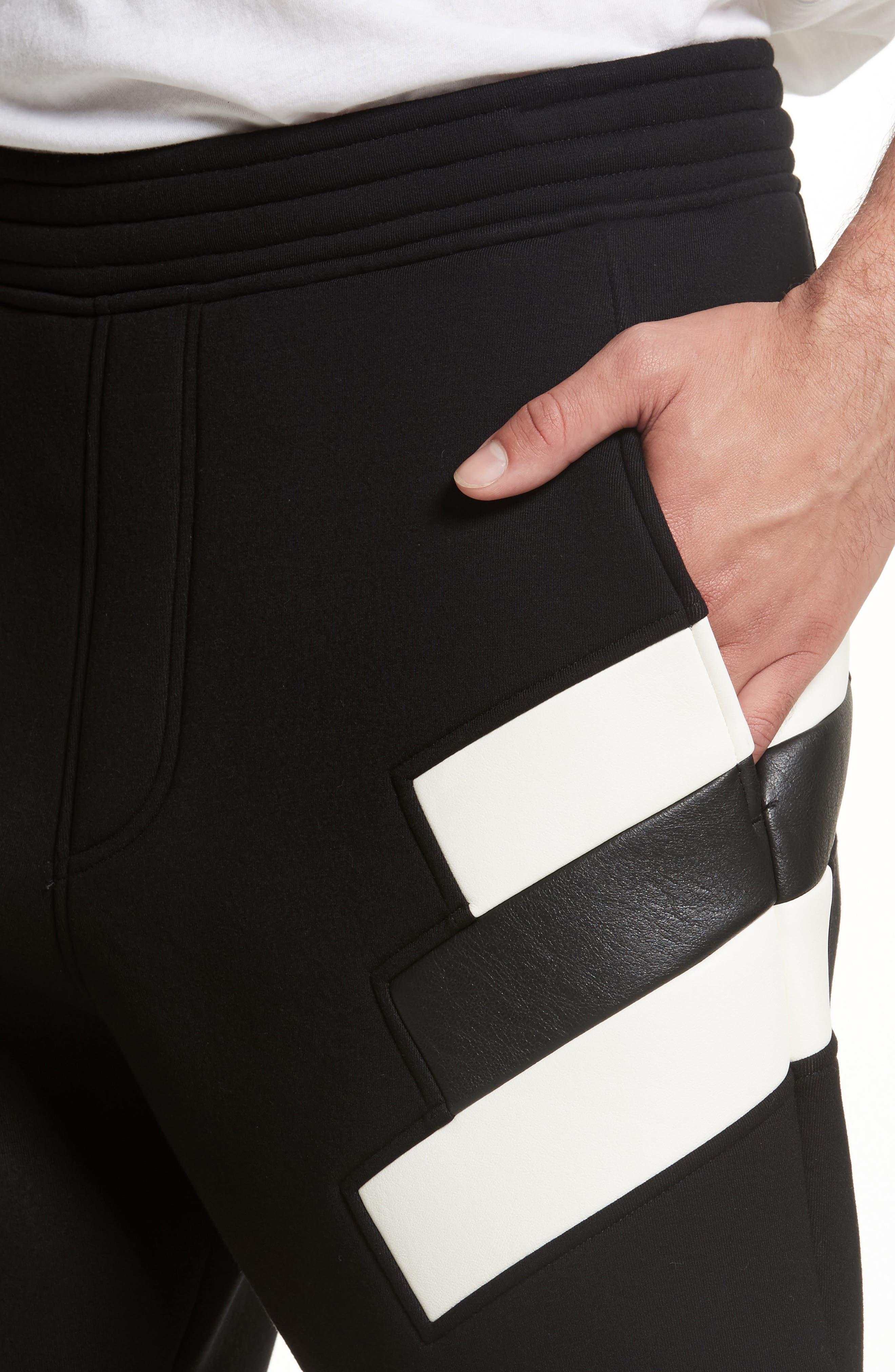 Retro Faux Leather Trim Sweat Shorts,                             Alternate thumbnail 4, color,