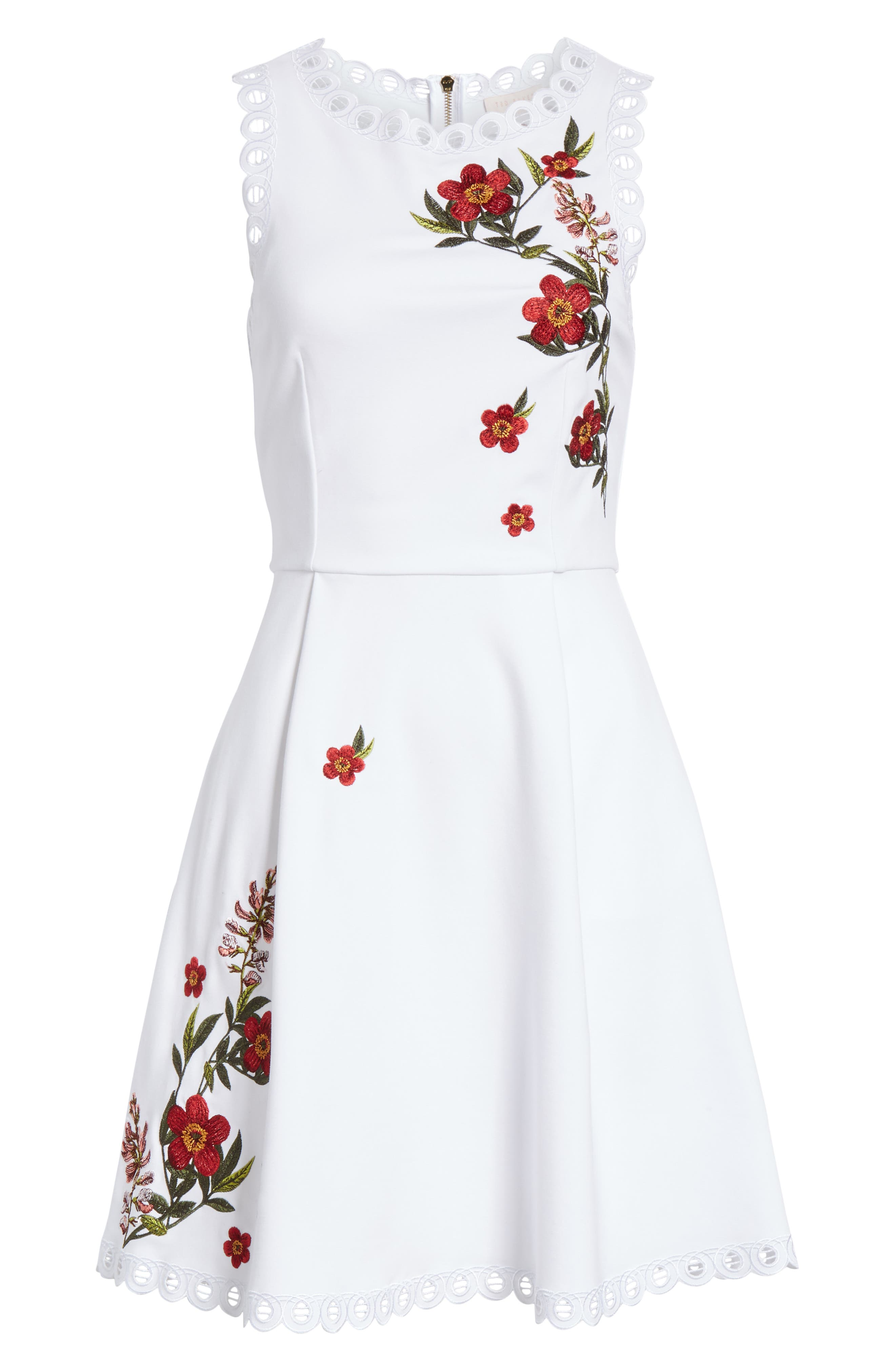 Kristil Kirstenbosch Skater Dress,                             Alternate thumbnail 6, color,                             WHITE