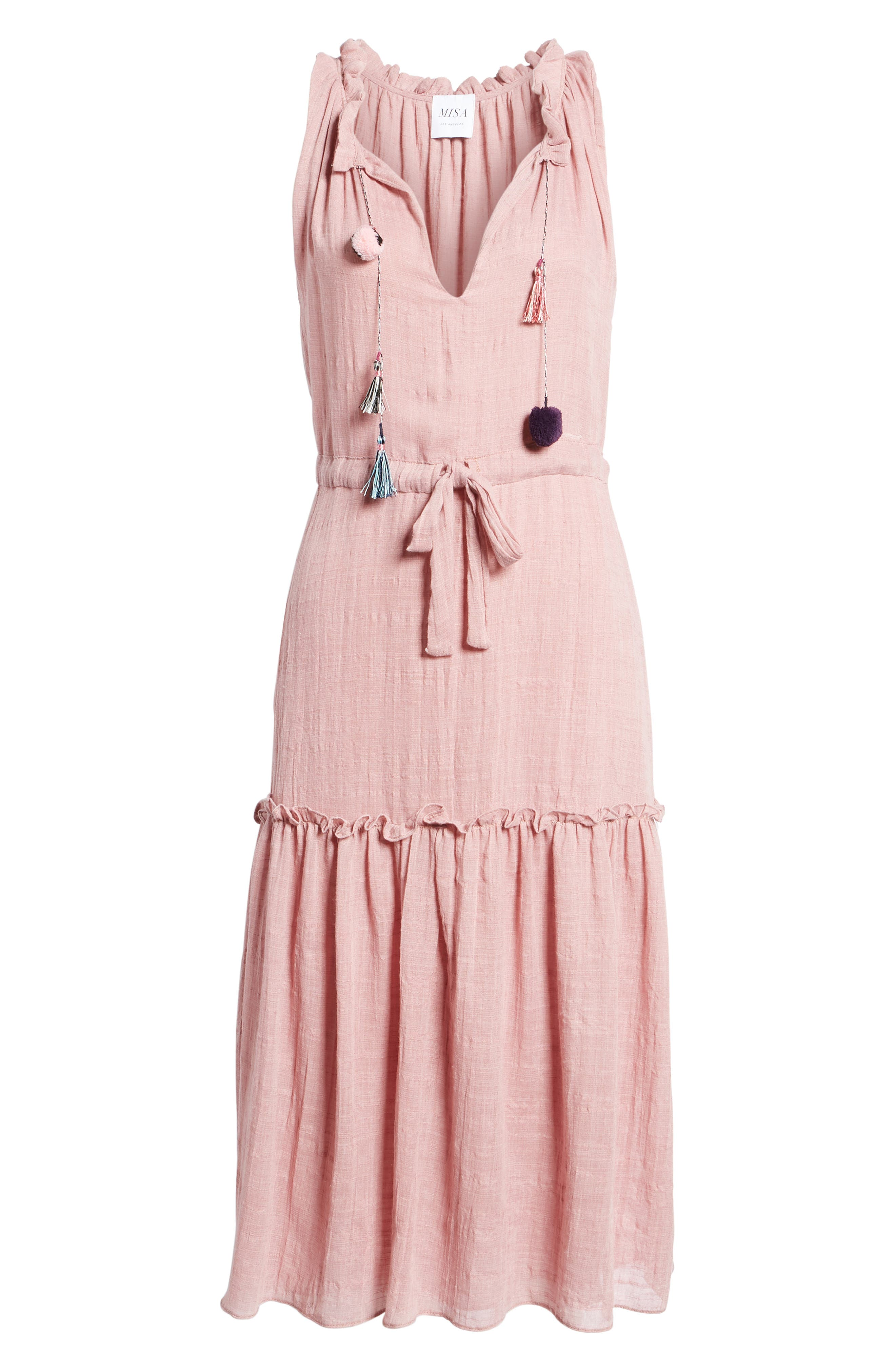 Nicolleta Tie Waist Midi Dress,                             Alternate thumbnail 6, color,                             650