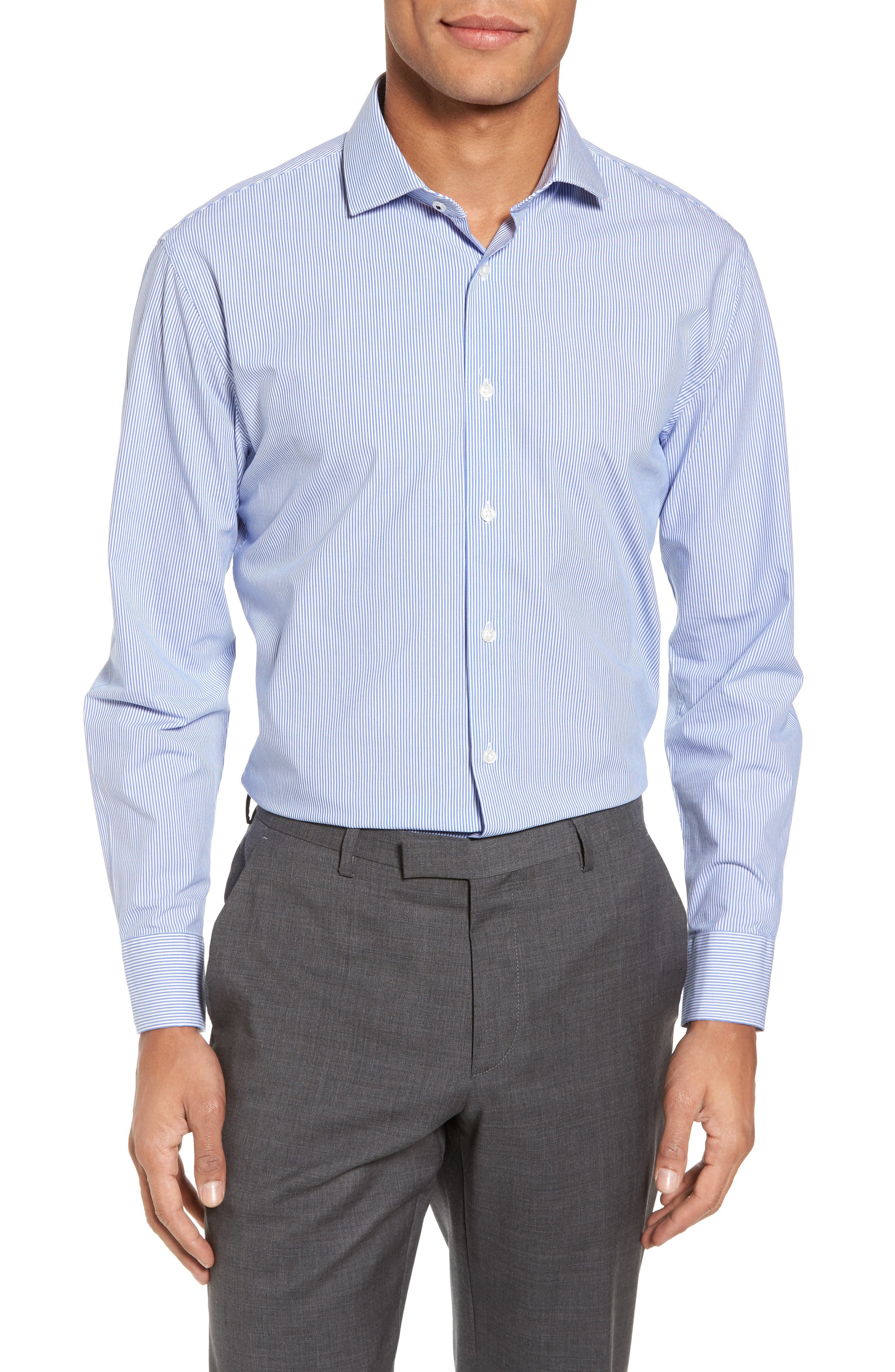 Tech-Smart Trim Fit Stretch Stripe Dress Shirt,                         Main,                         color, 420