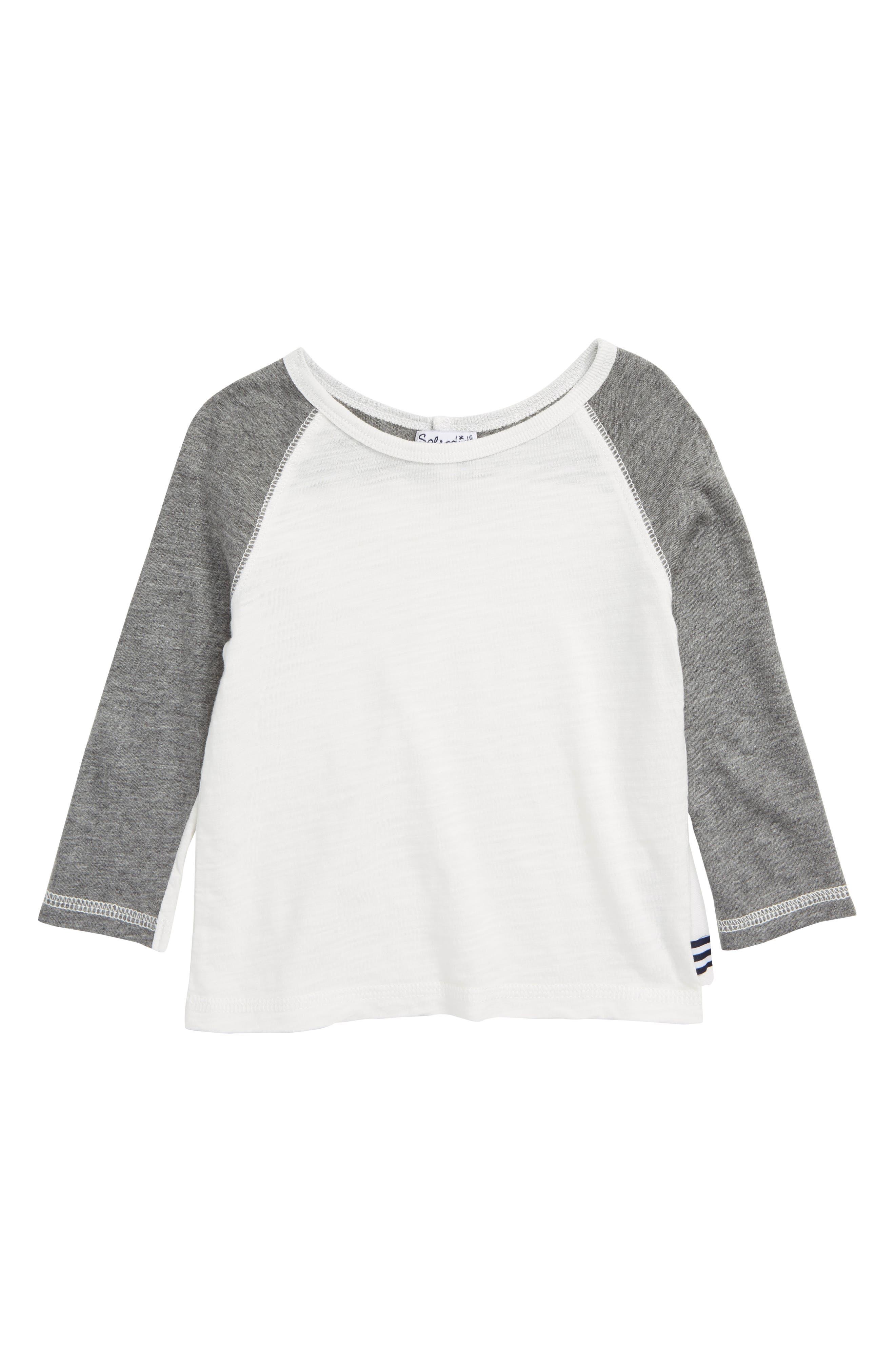 Always Raglan T-Shirt,                         Main,                         color, OFF WHITE/ GREY