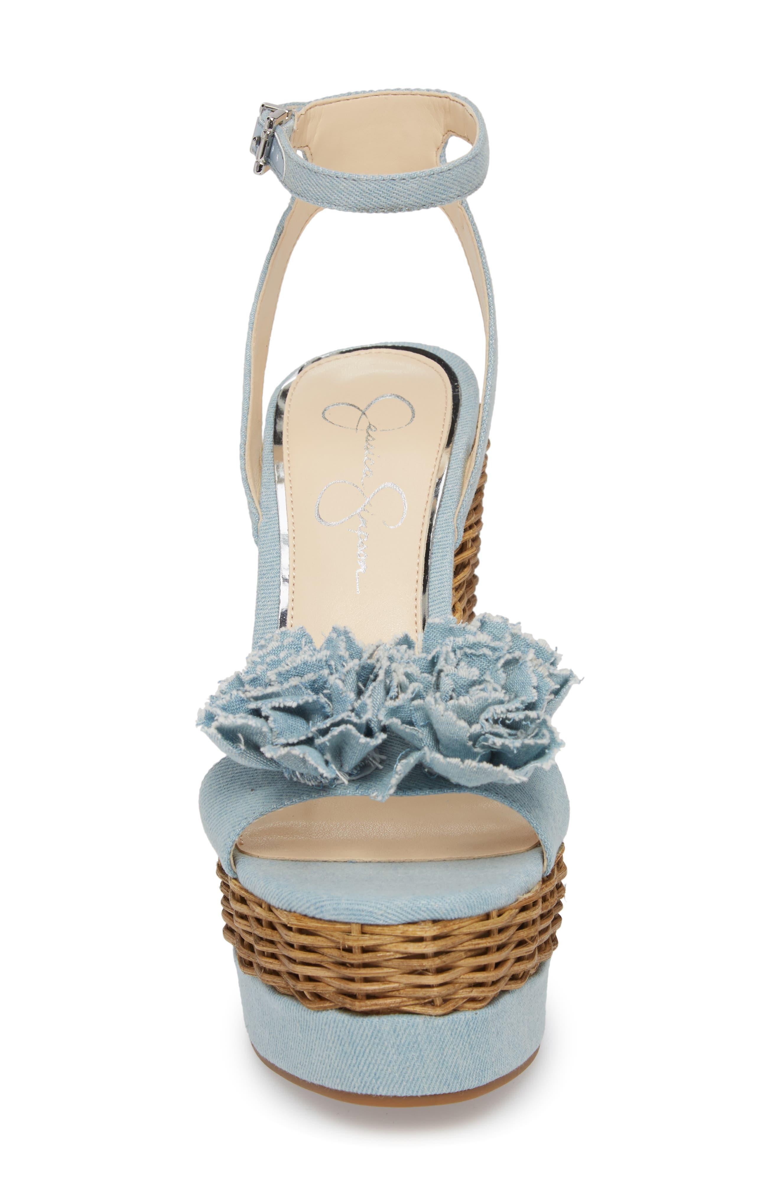 Pressa Platform Wedge Sandal,                             Alternate thumbnail 4, color,                             VINTAGE BLUE
