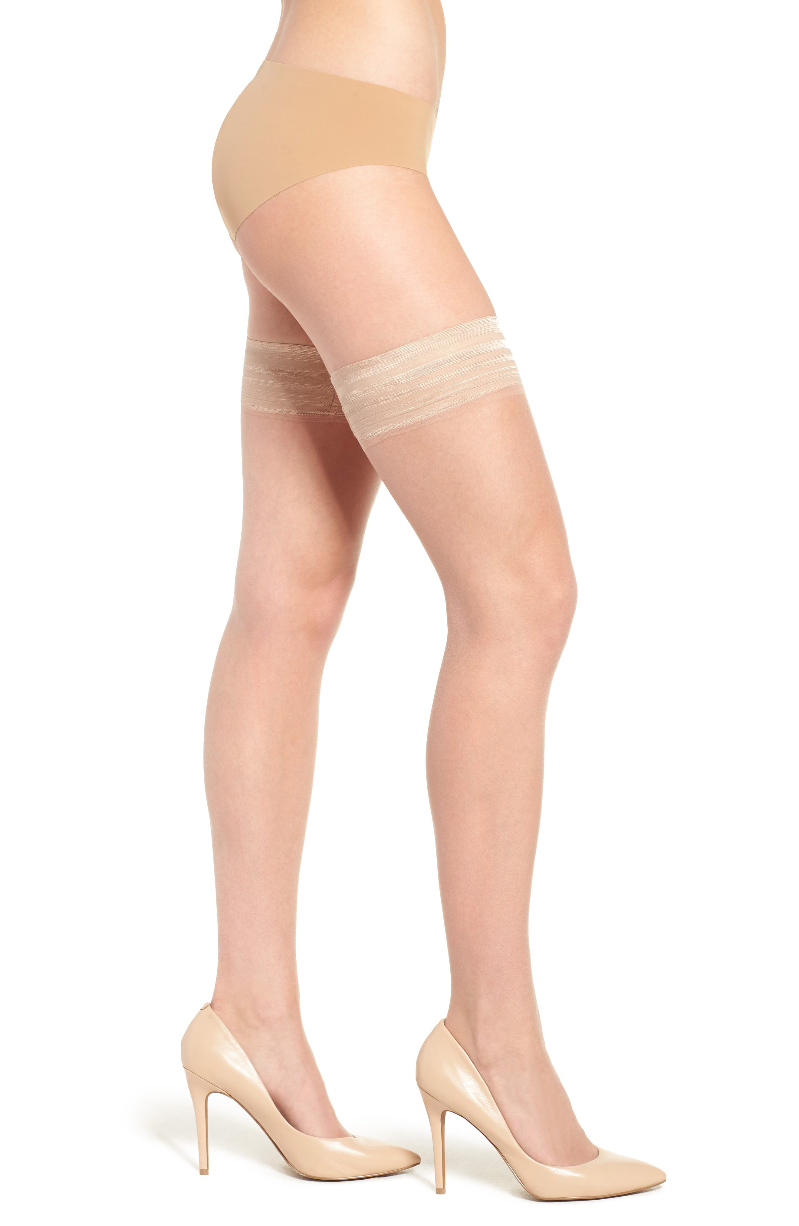Donna Karan Beyond The Nudes Stay-Up Stockings,                             Main thumbnail 4, color,