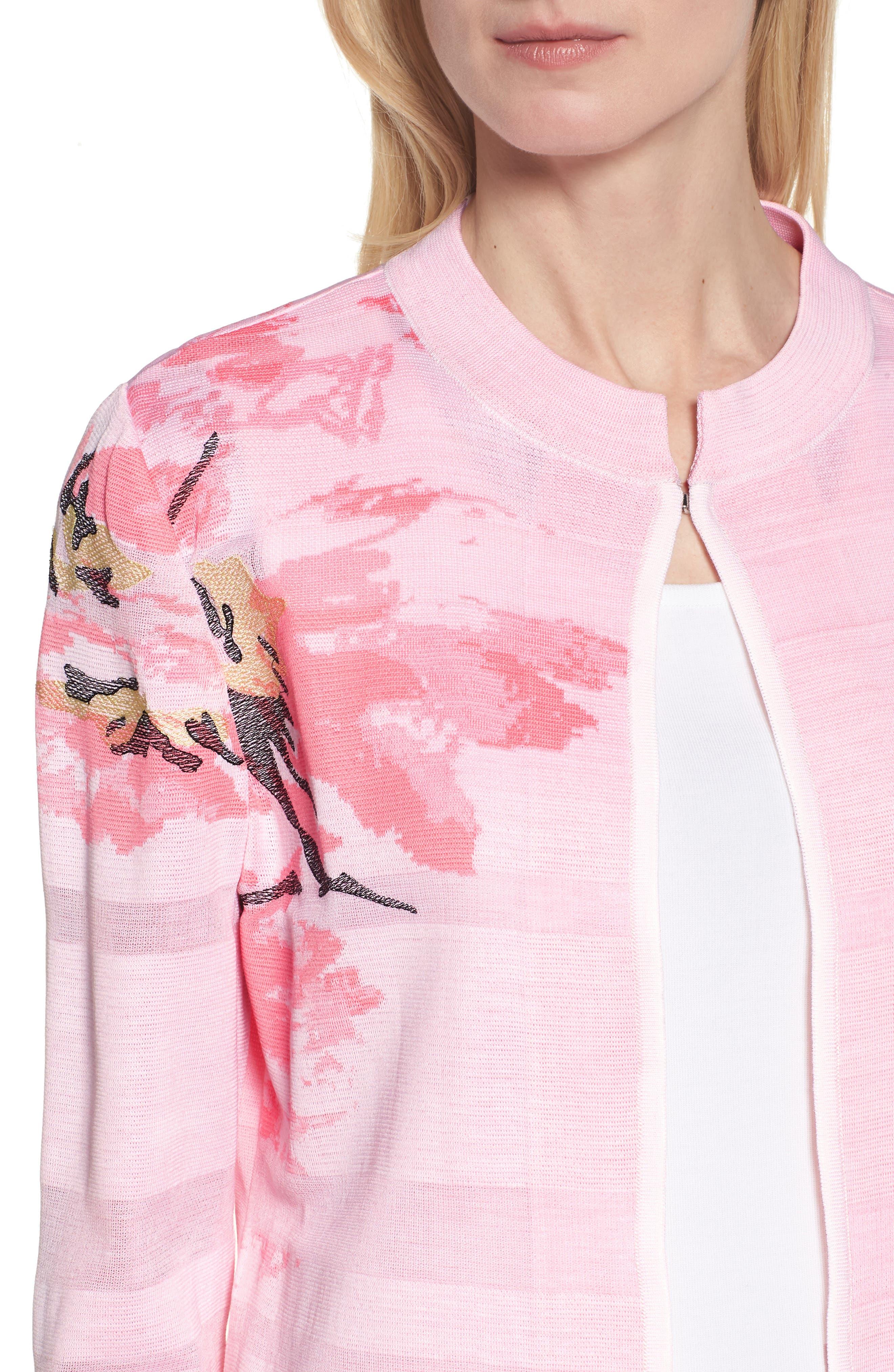 Floral Knit Jacket,                             Alternate thumbnail 4, color,                             MULTI