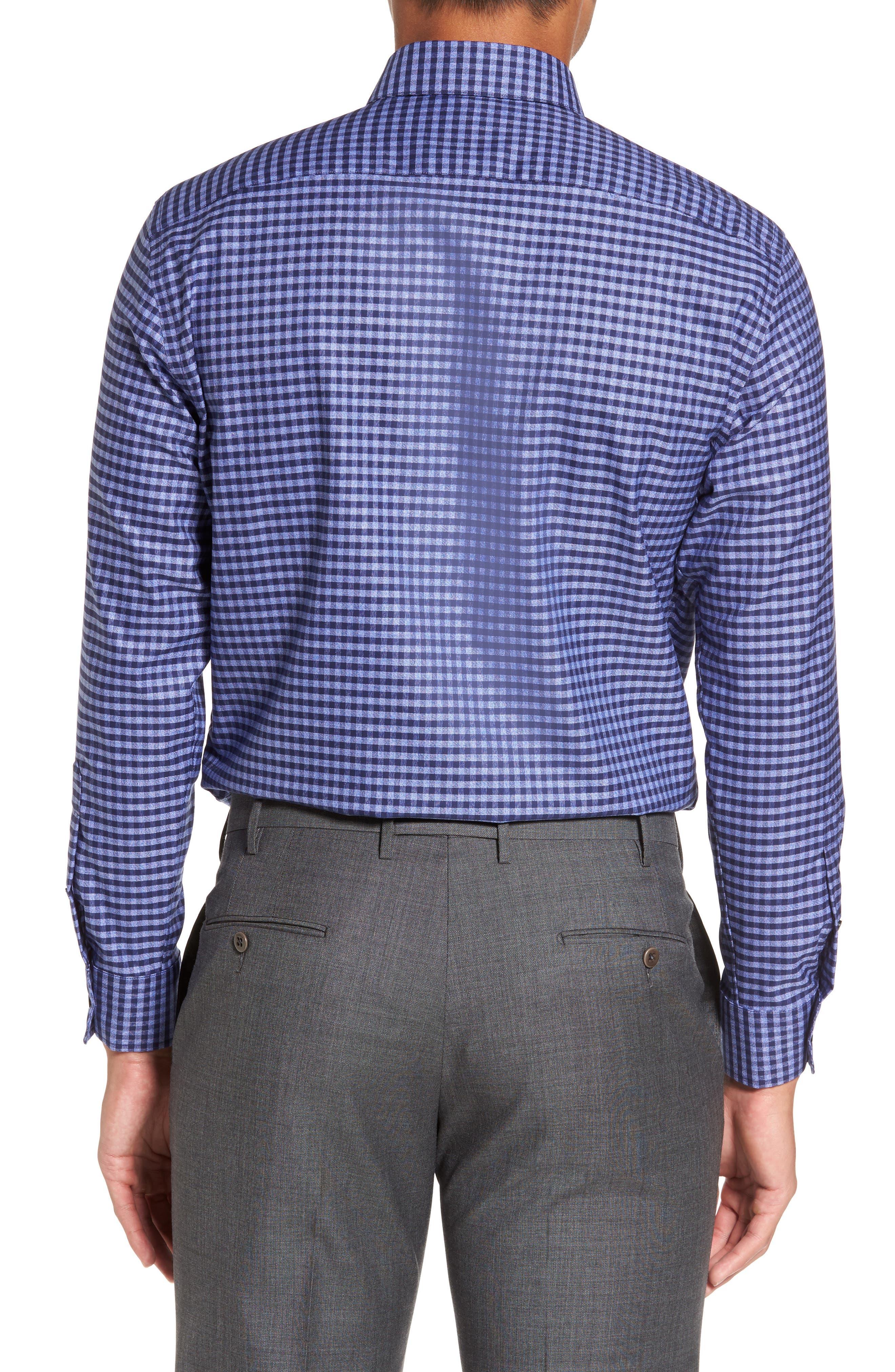 Trim Fit Non-Iron Check Dress Shirt,                             Alternate thumbnail 2, color,                             420