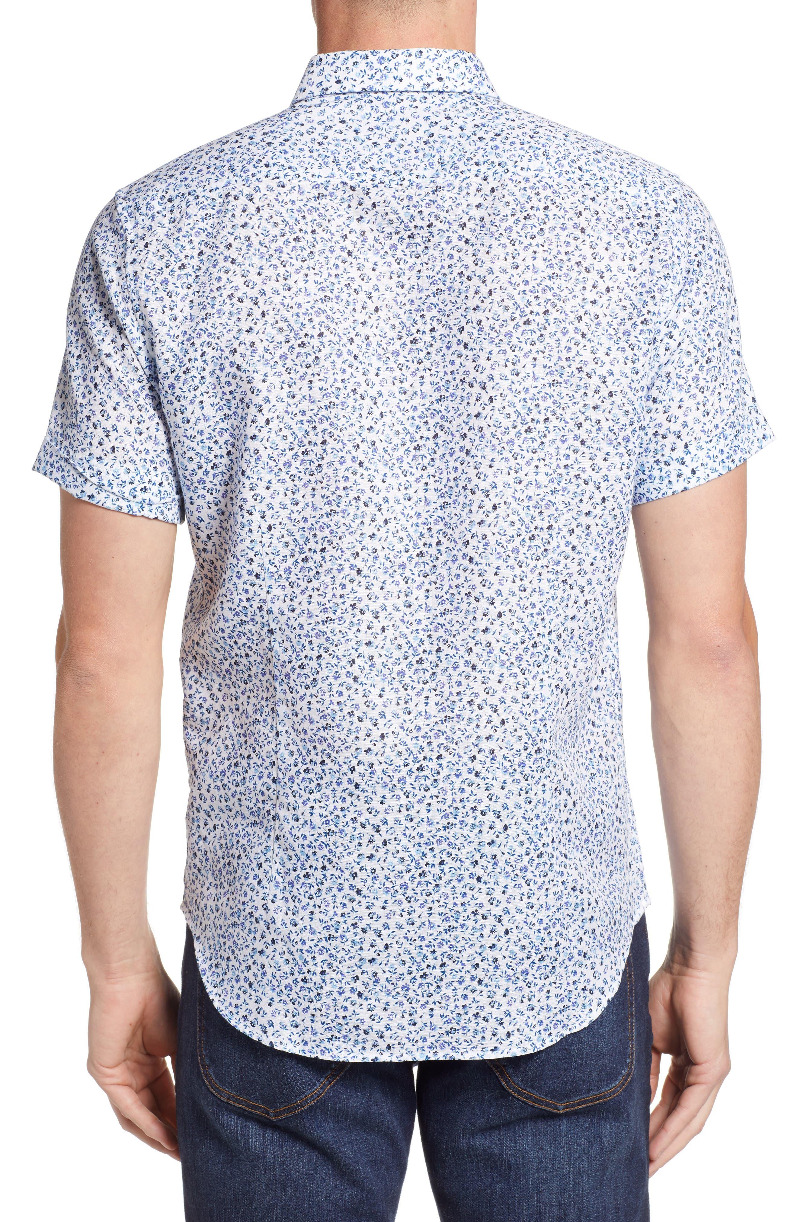 Patrick Floral Linen Blend Sport Shirt,                             Alternate thumbnail 3, color,                             400