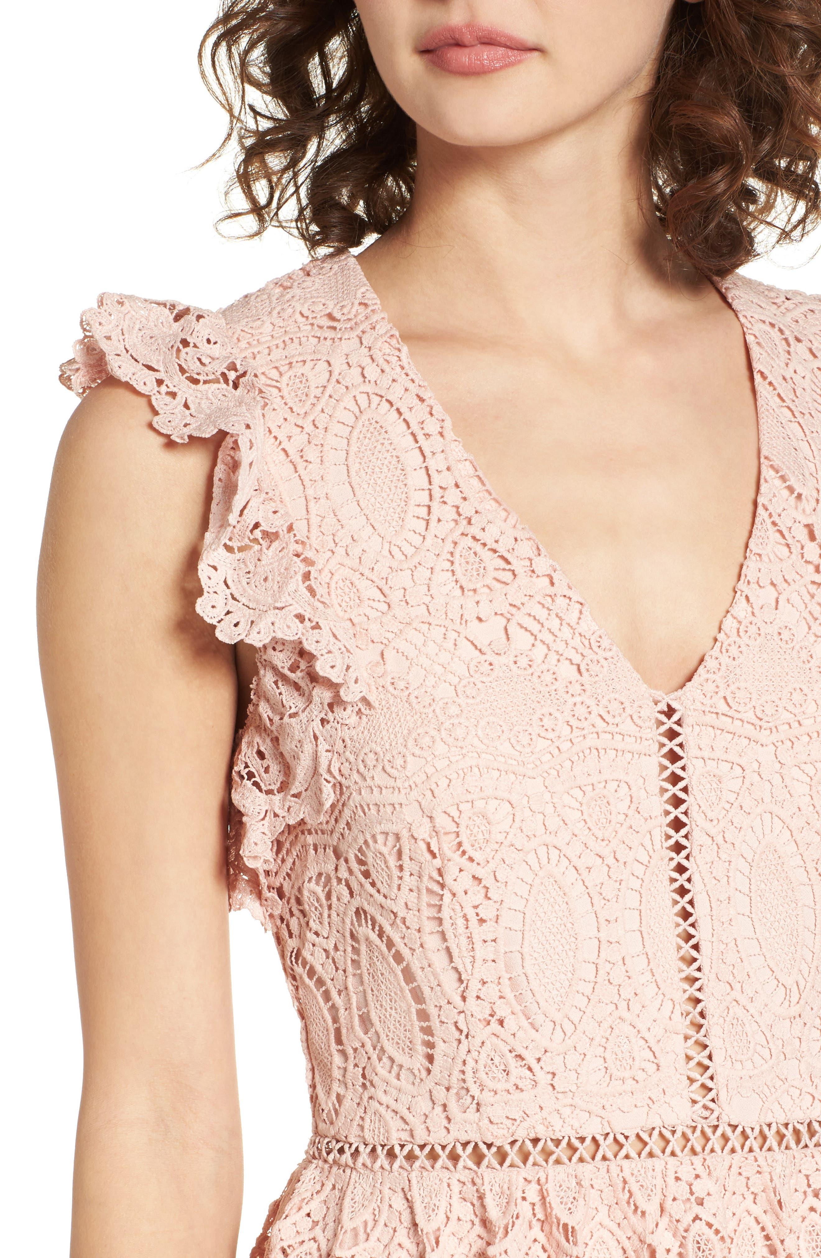 Lace Fit & Flare Dress,                             Alternate thumbnail 4, color,                             650