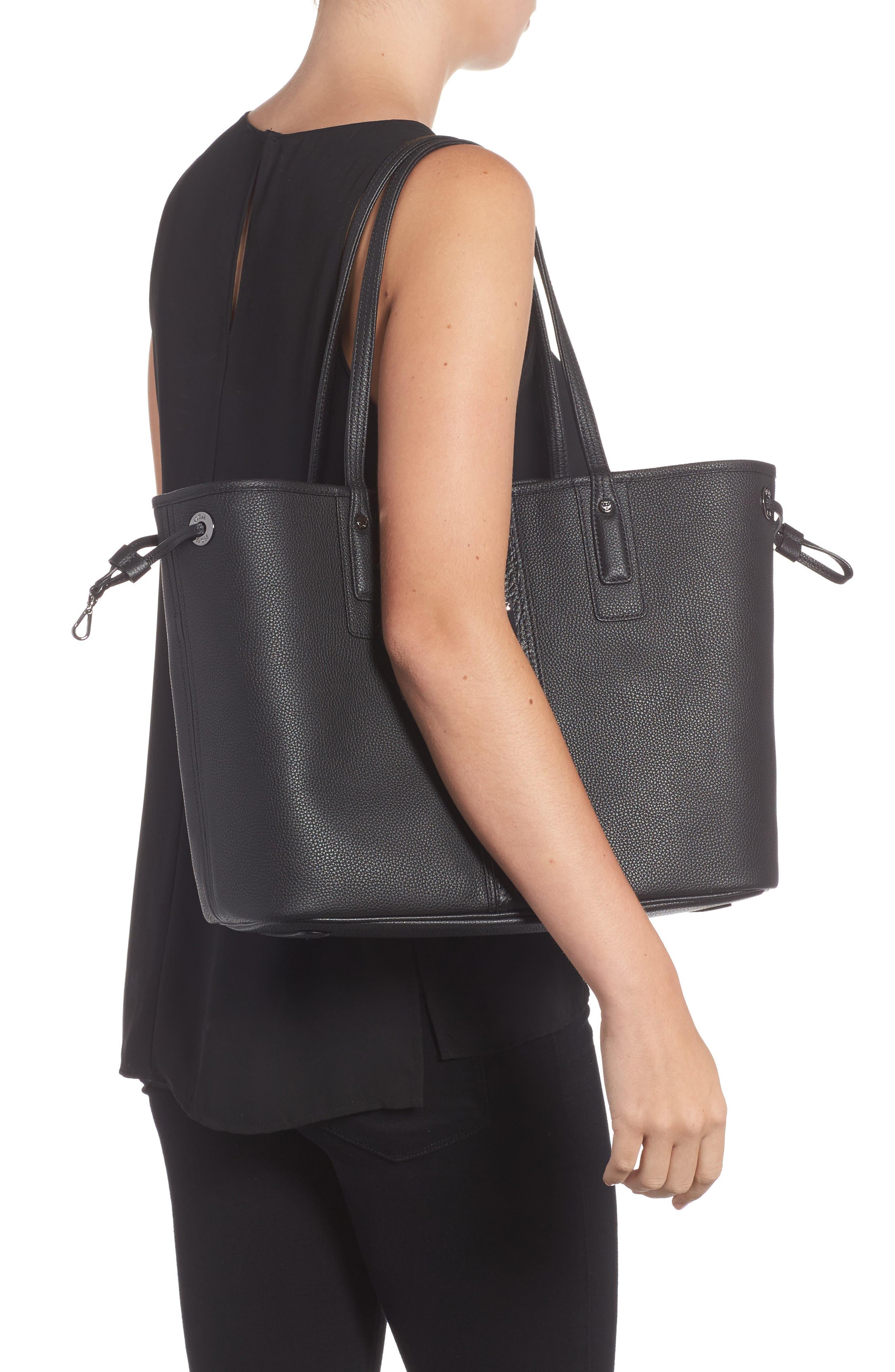 Medium Liz Reversible Visetos Leather Shopper,                             Alternate thumbnail 2, color,                             BLACK