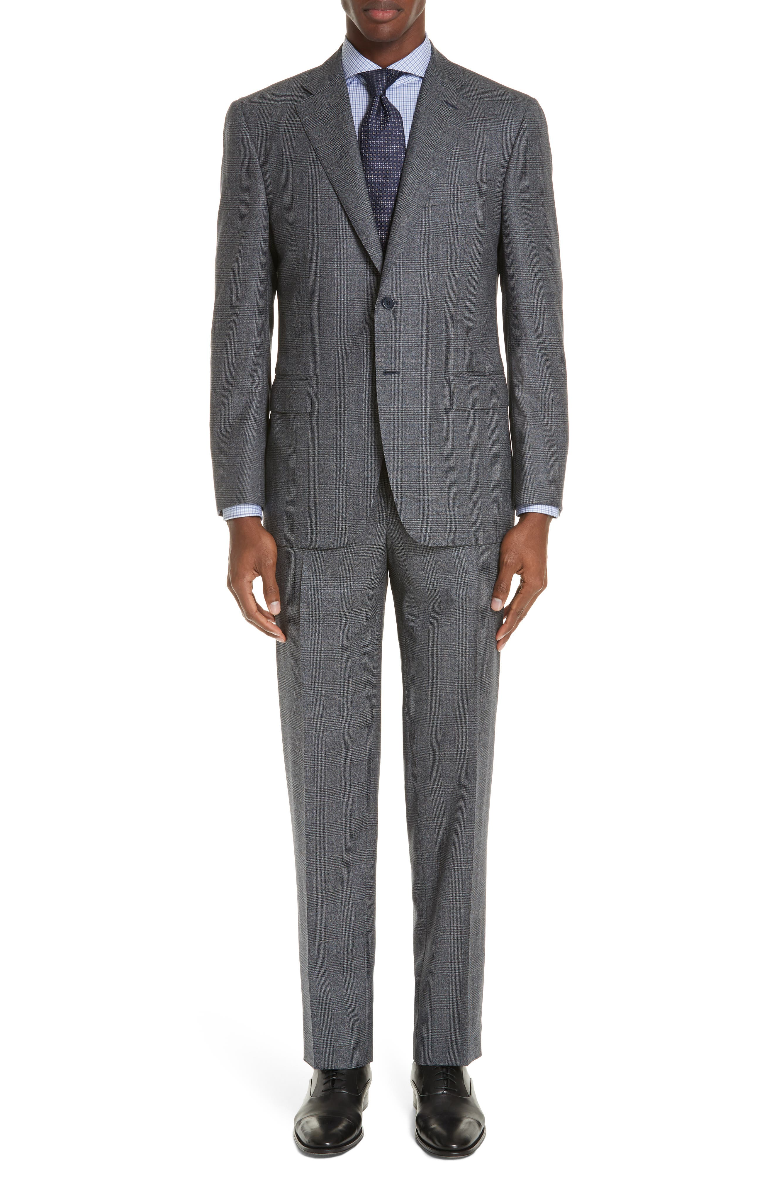 Classic Fit Plaid Wool Suit,                         Main,                         color, MED GREY