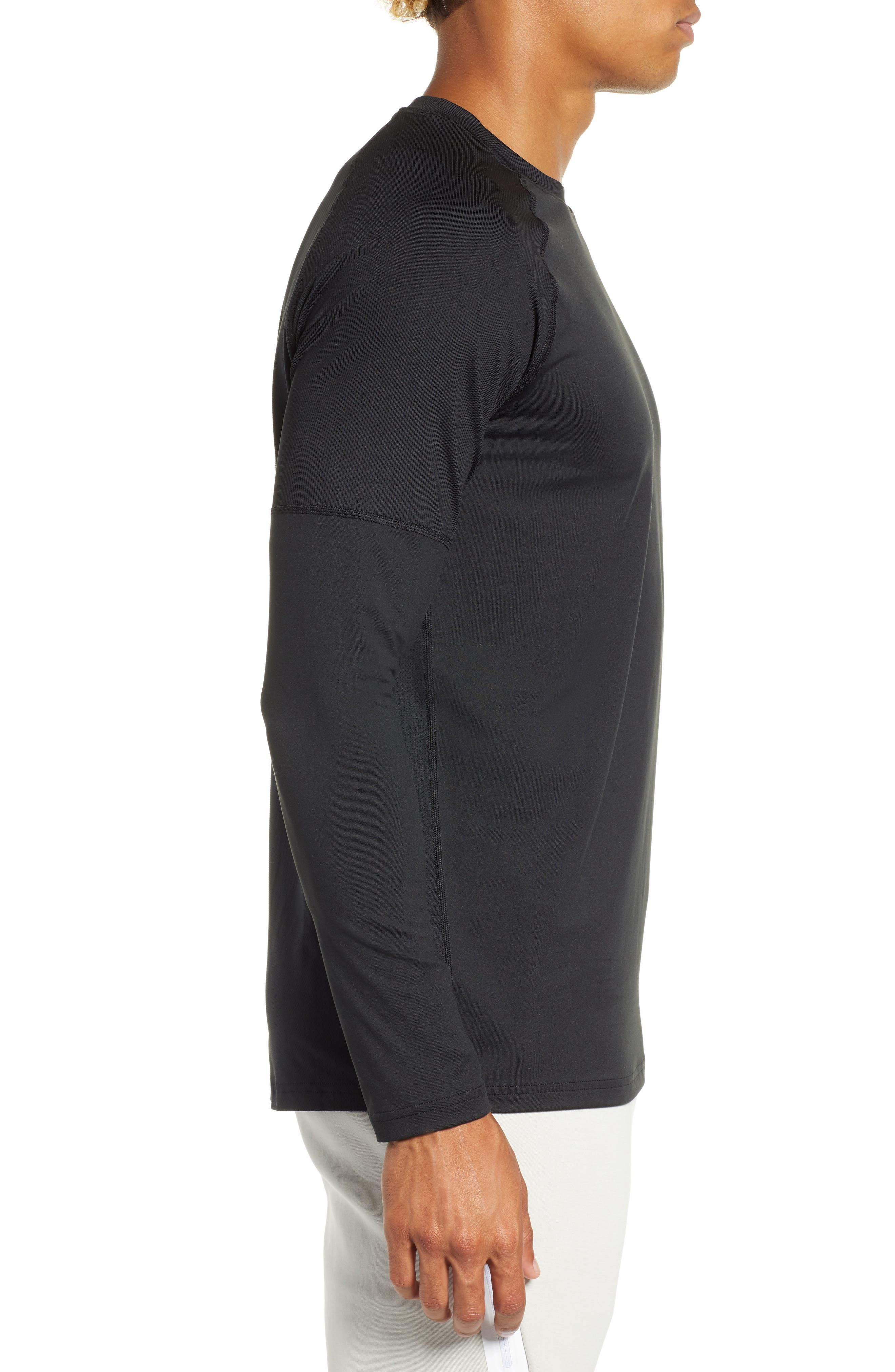 NIKE,                             Element Dry Crewneck Running T-Shirt,                             Alternate thumbnail 3, color,                             BLACK