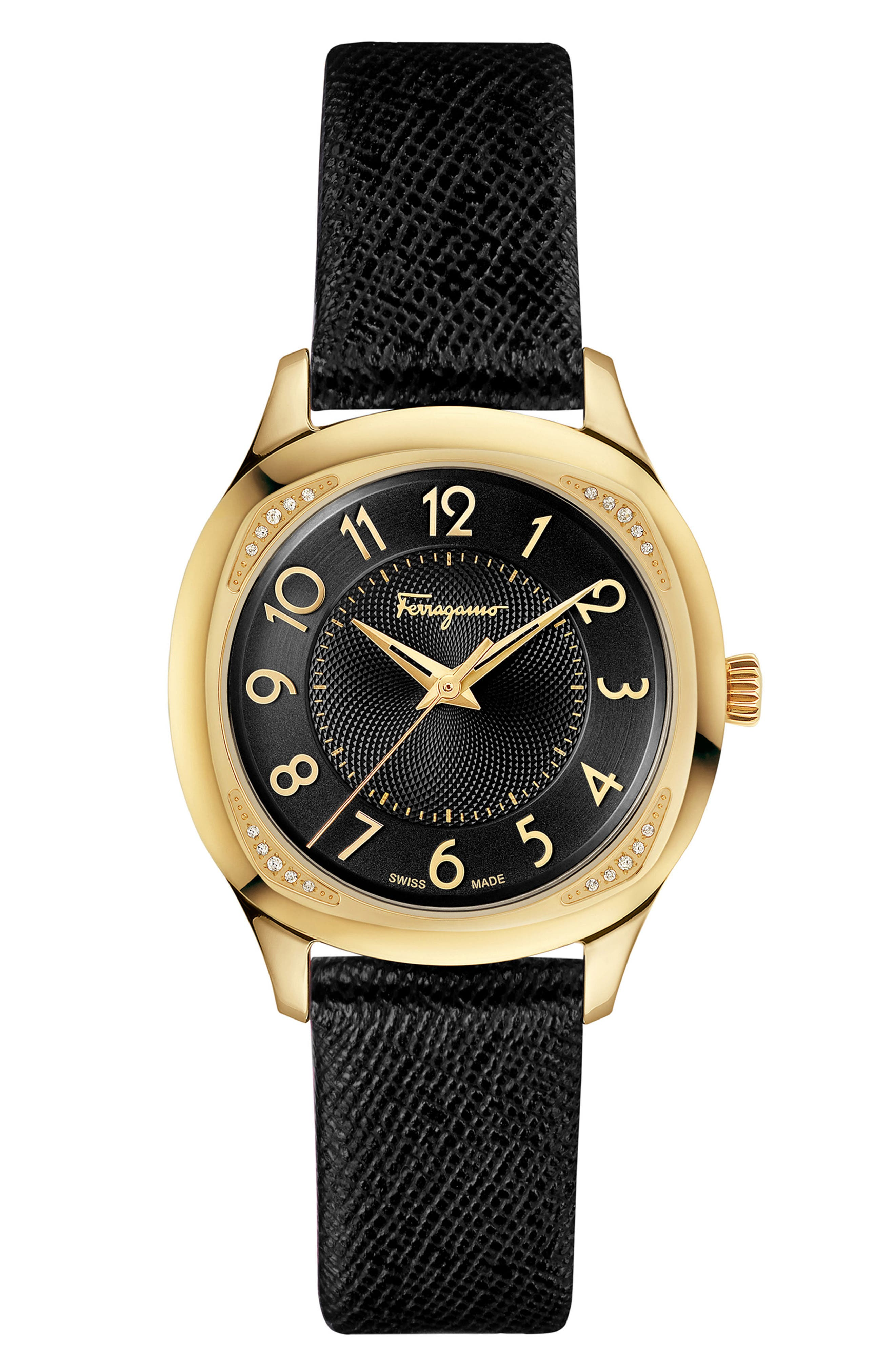 Time Square Leather Strap Watch, 36mm,                             Alternate thumbnail 6, color,                             MULTI/ BLACK/ GOLD