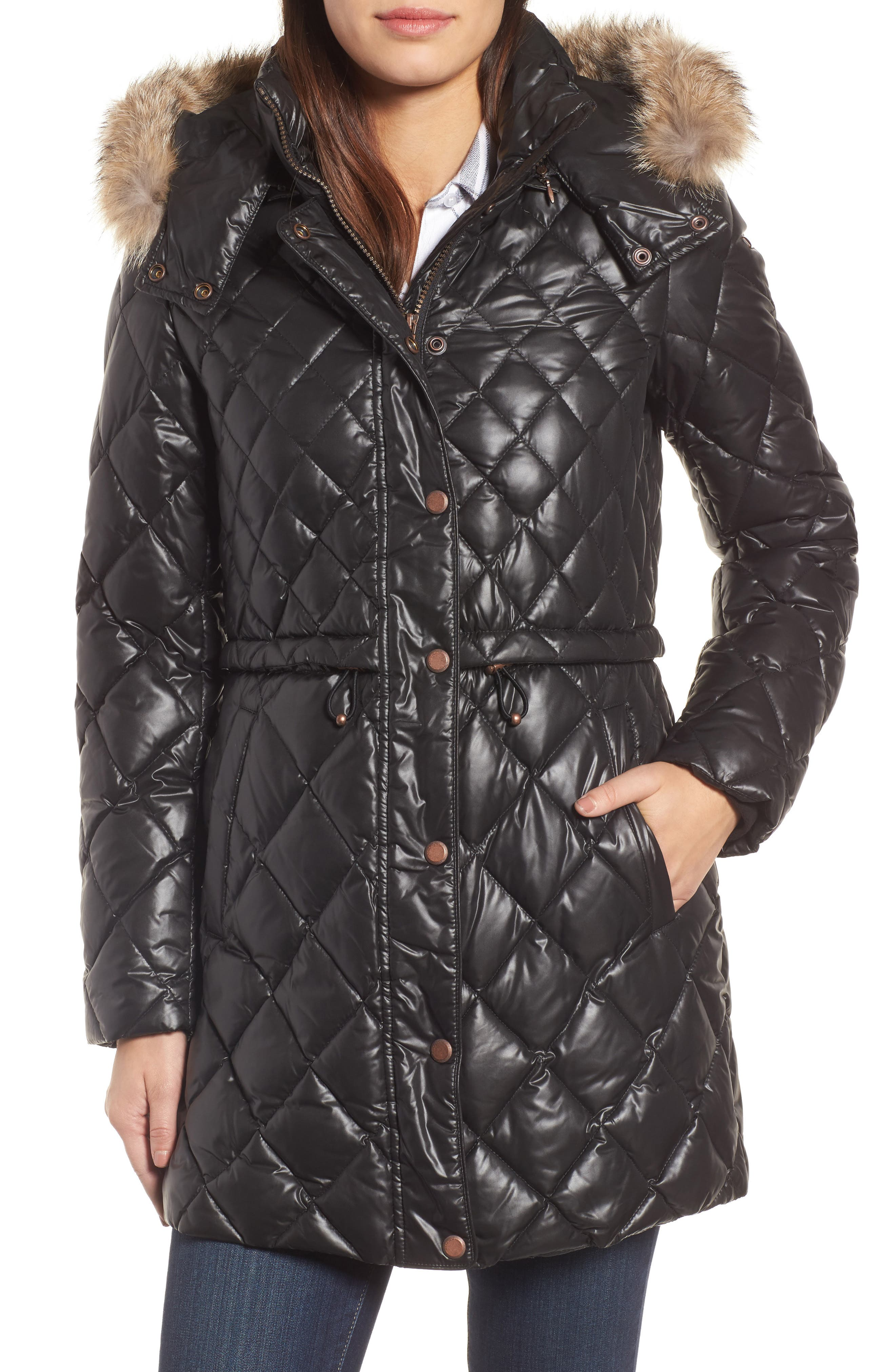 Quilted Anorak with Genuine Coyote Fur,                         Main,                         color, 001