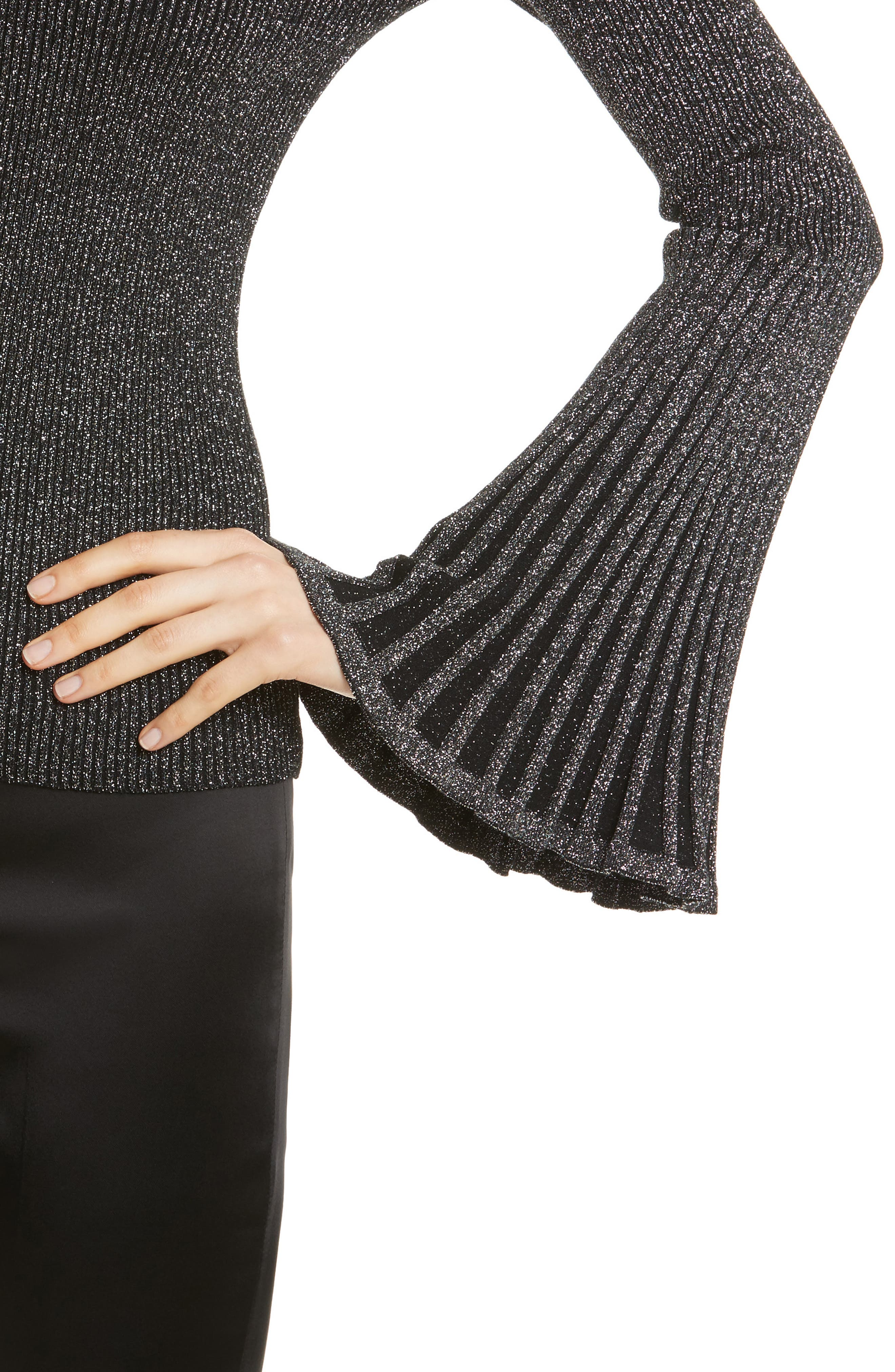 Bell Sleeve Ribbed Metallic Sweater,                             Alternate thumbnail 4, color,                             022