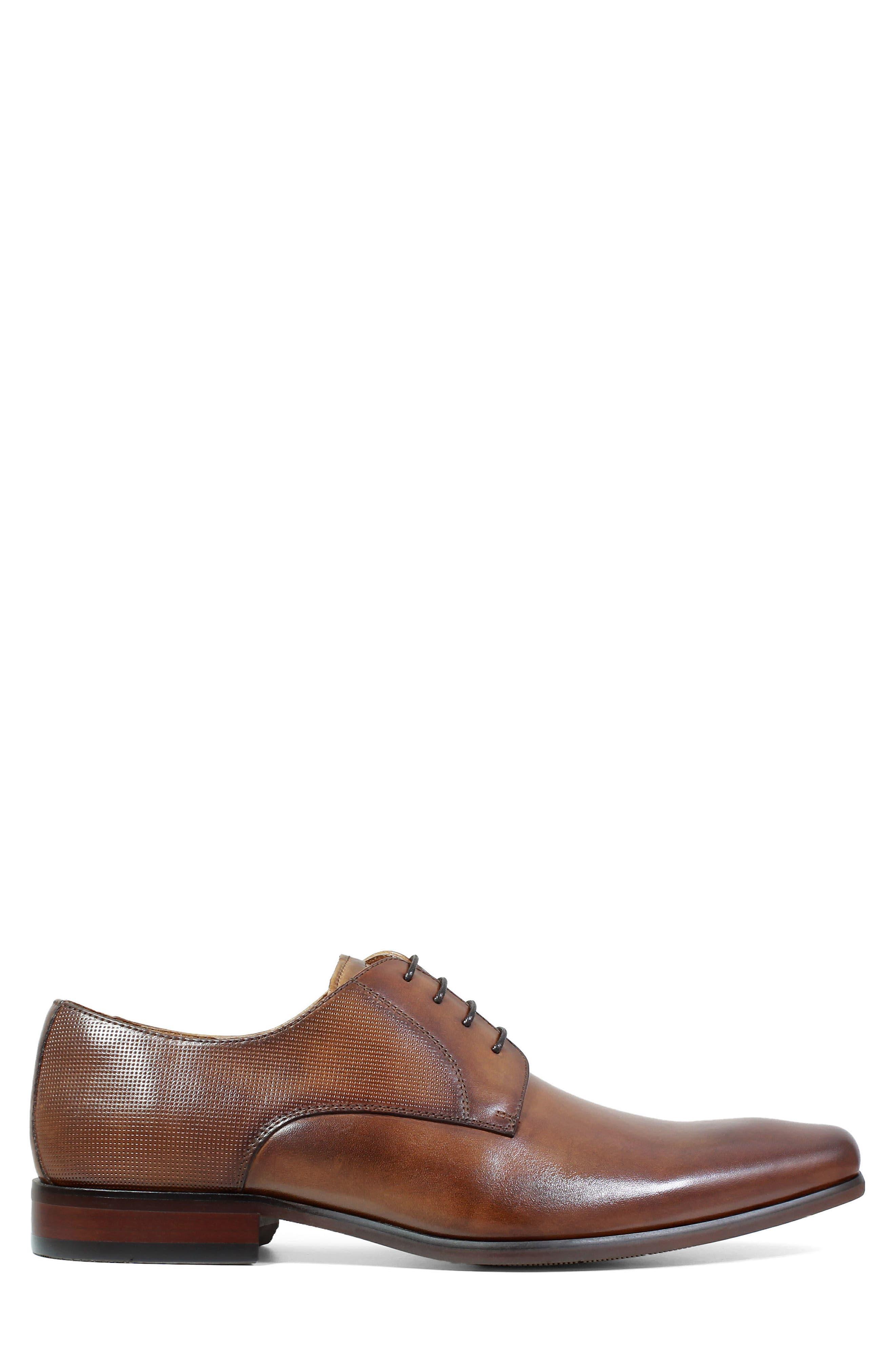 FLORSHEIM,                             Postino Textured Plain Toe Derby,                             Alternate thumbnail 3, color,                             COGNAC LEATHER