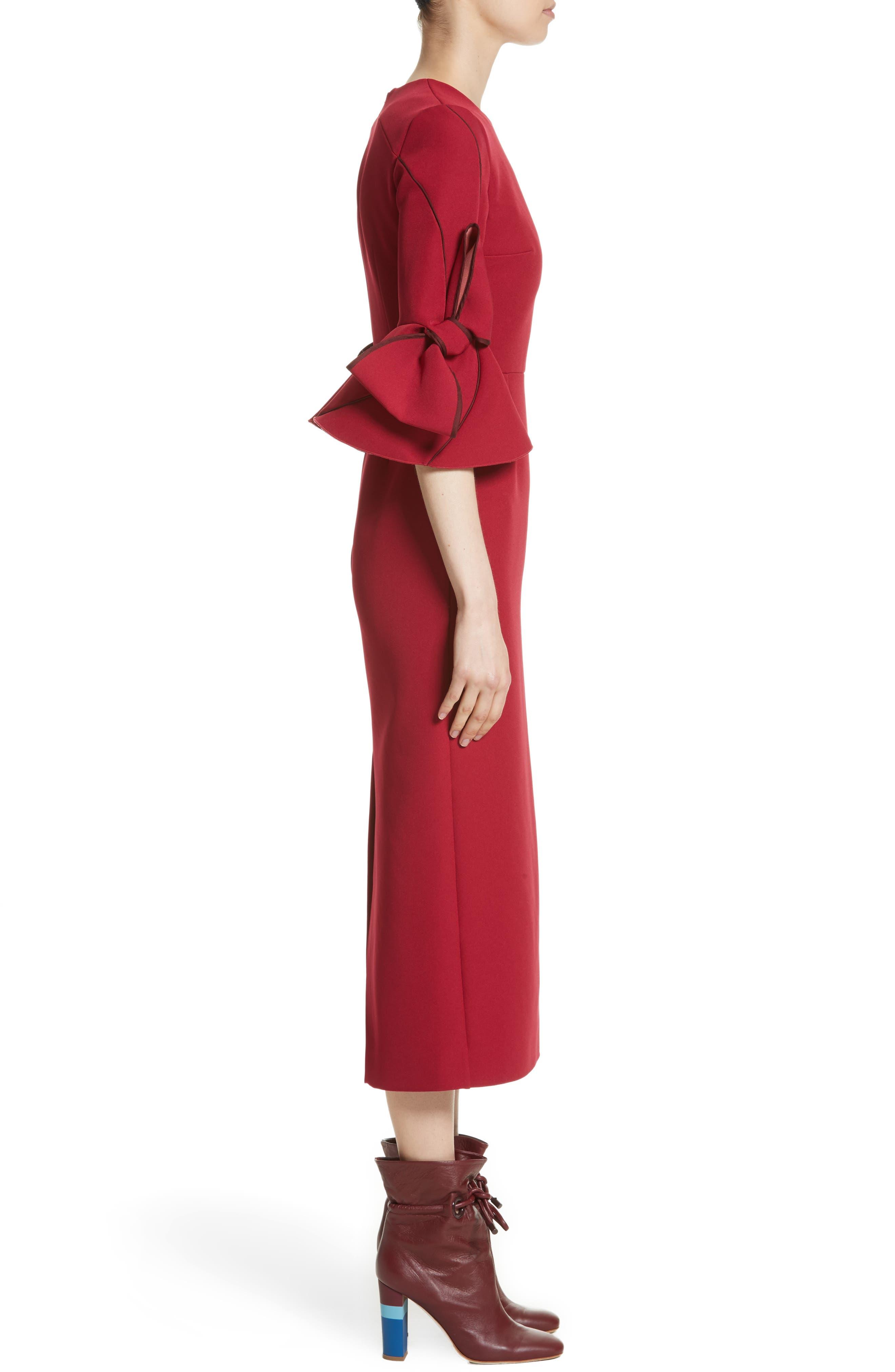 Lavete Bow Sleeve Crepe Dress,                             Alternate thumbnail 3, color,