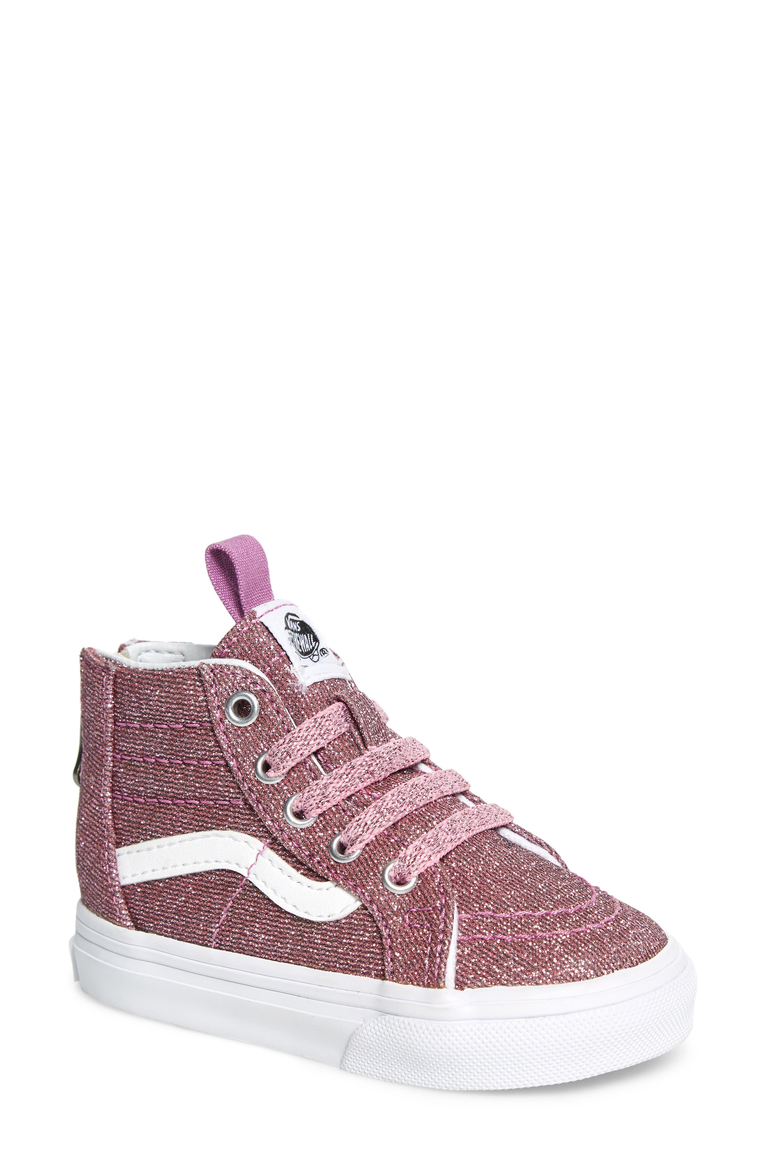 Sk8-Hi Zip Sneaker,                             Main thumbnail 1, color,                             LUREX GLITTER PINK/ TRUE WHITE