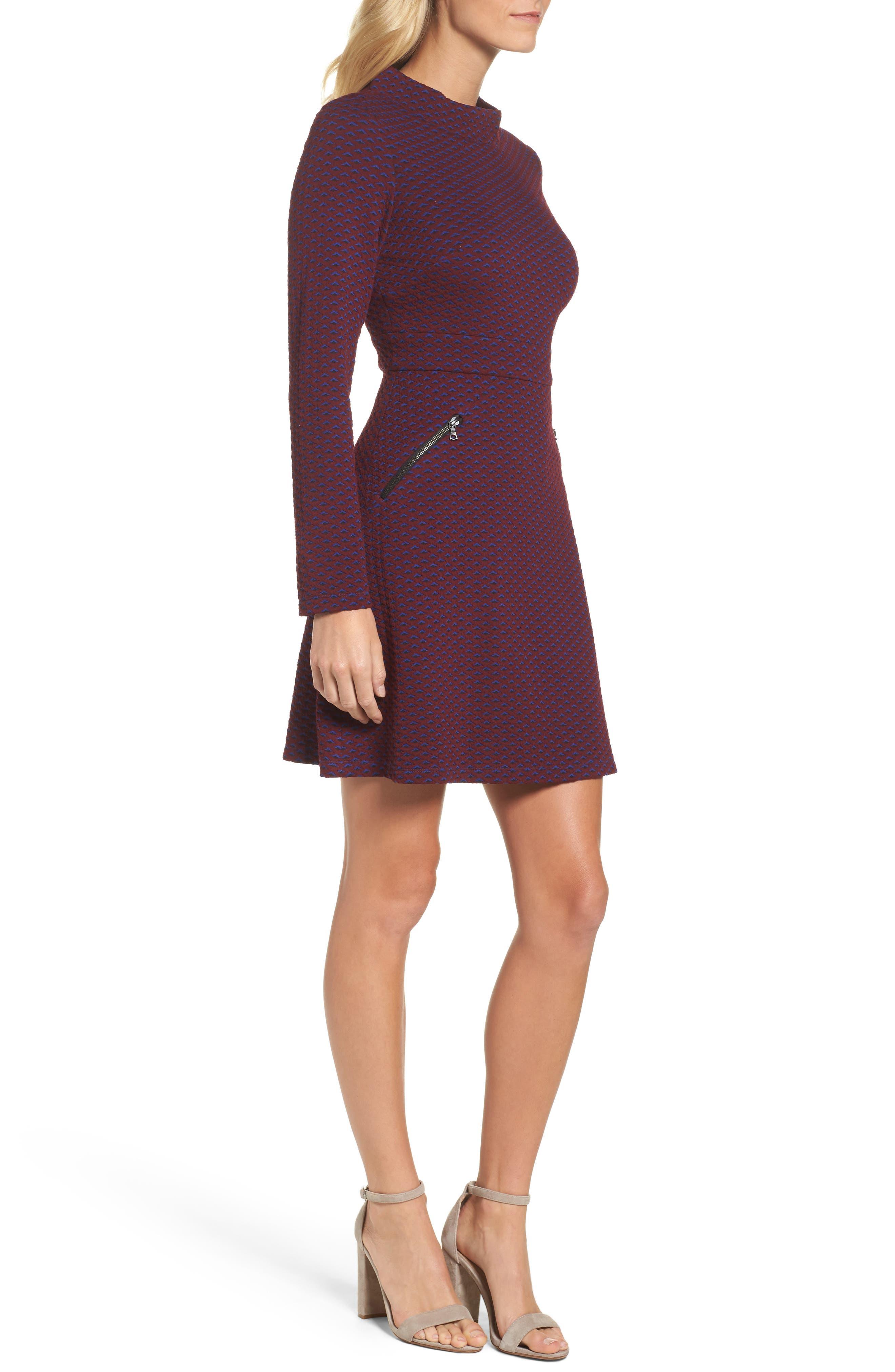 Jacquard Fit & Flare Dress,                             Alternate thumbnail 3, color,                             401