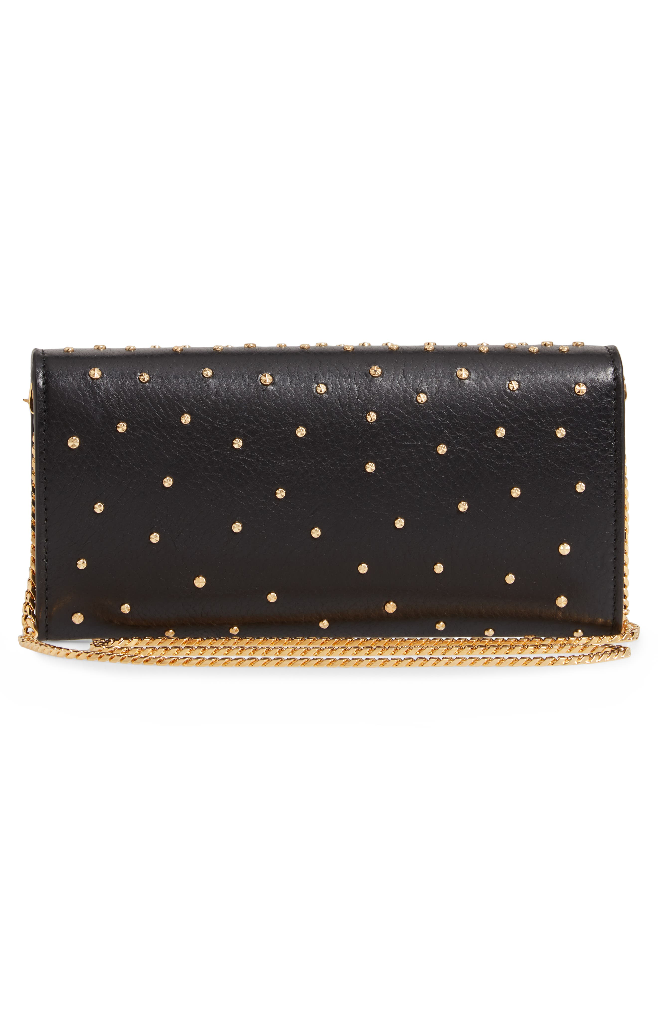 Studded Leather Wallet on a Chain,                             Alternate thumbnail 3, color,                             BLACK