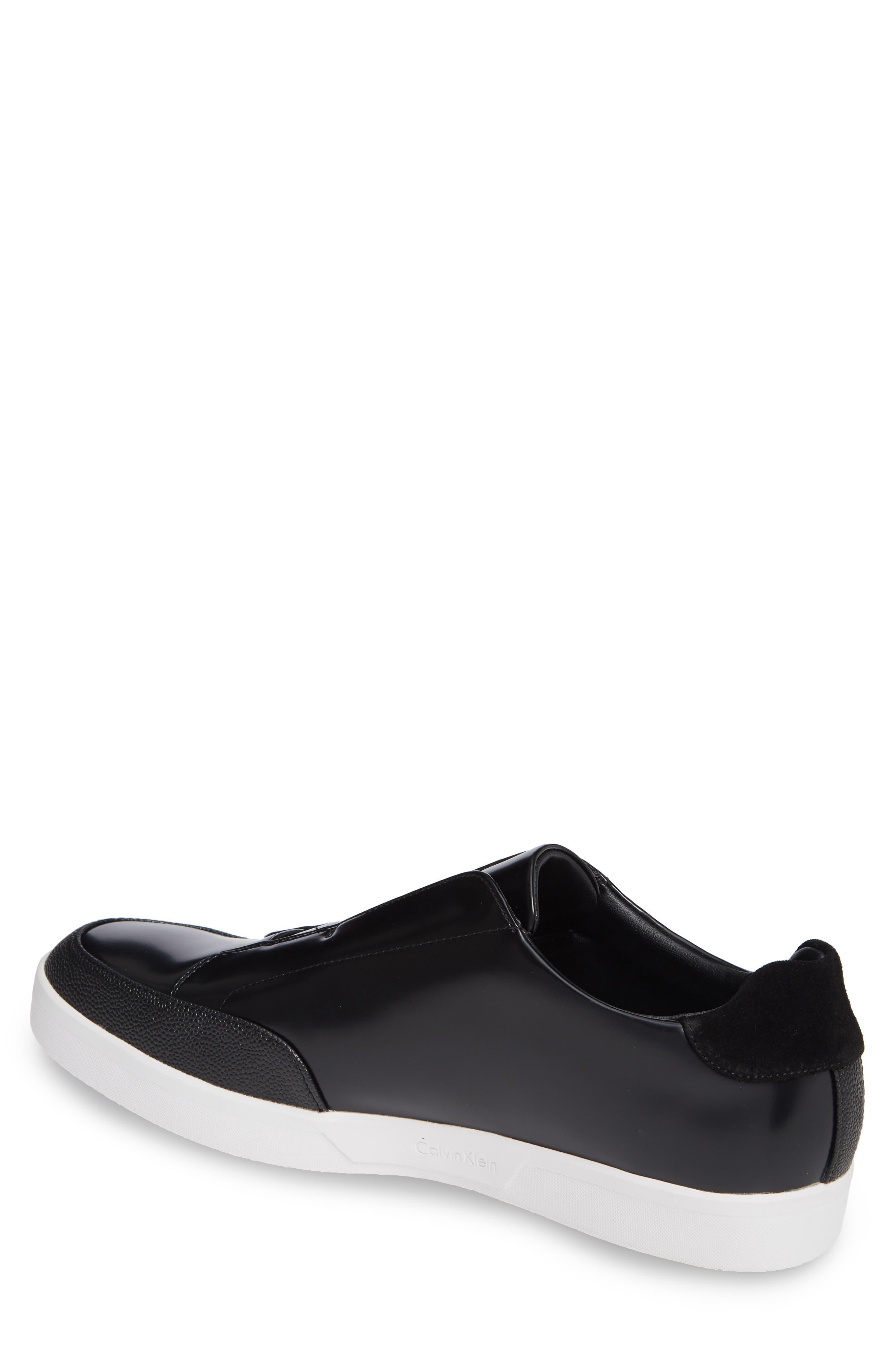 Immanuel Slip-On Sneaker,                             Alternate thumbnail 2, color,                             BLACK LEATHER