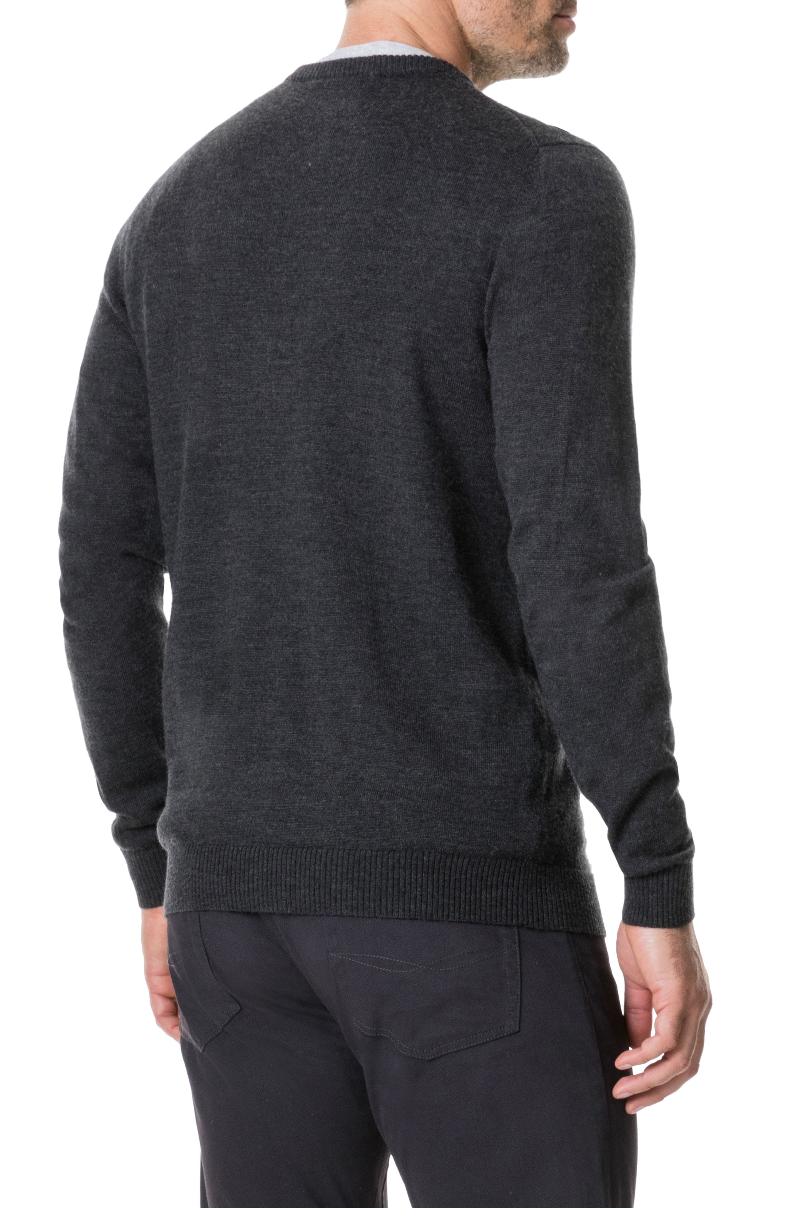 Calderwell Pointer Intarsia Knit Wool Sweater,                             Alternate thumbnail 2, color,                             CHARCOAL
