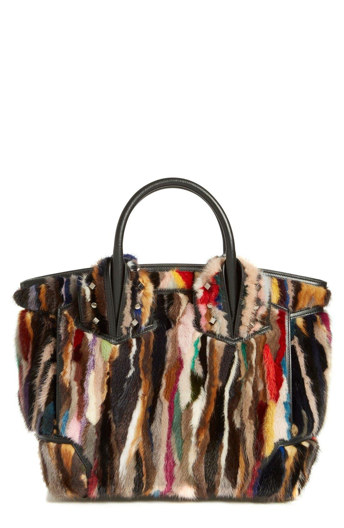 CHRISTIAN LOUBOUTIN 'Large Eloise' Studded Leather & Genuine Mink Fur Satchel, Main, color, 002