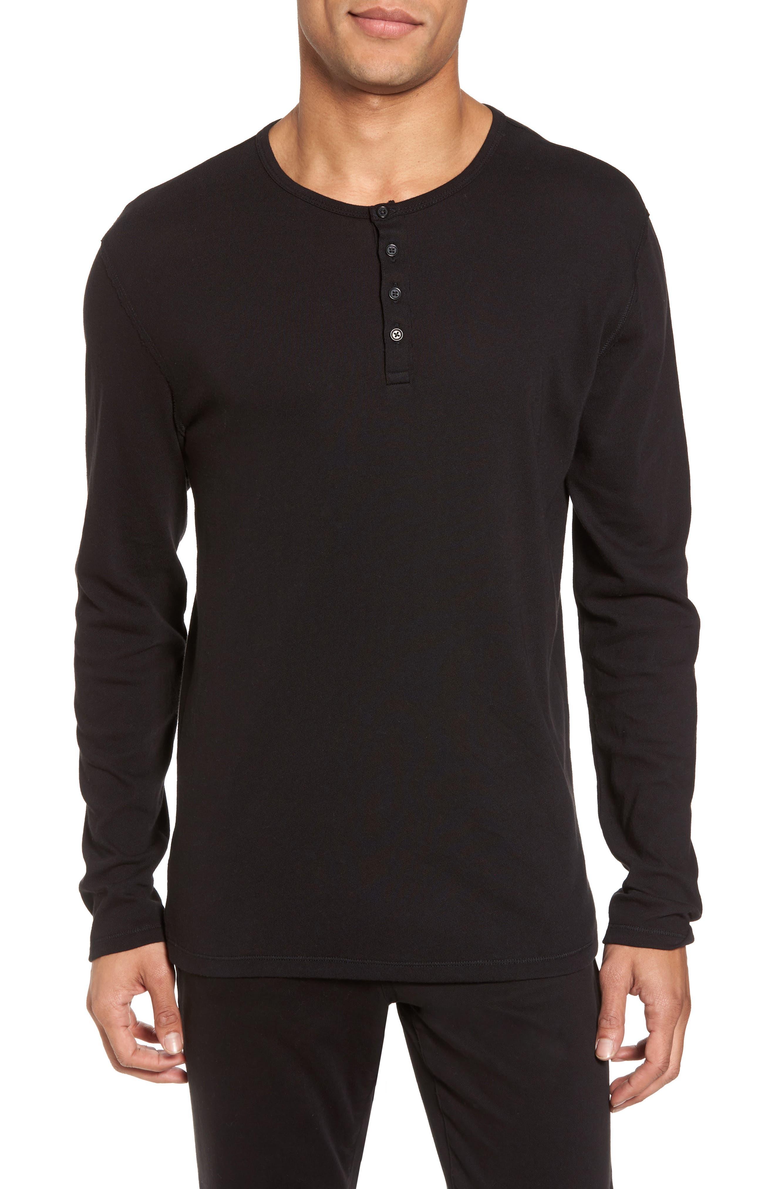 Raw Edge Long Sleeve Henley T-Shirt,                         Main,                         color, 001