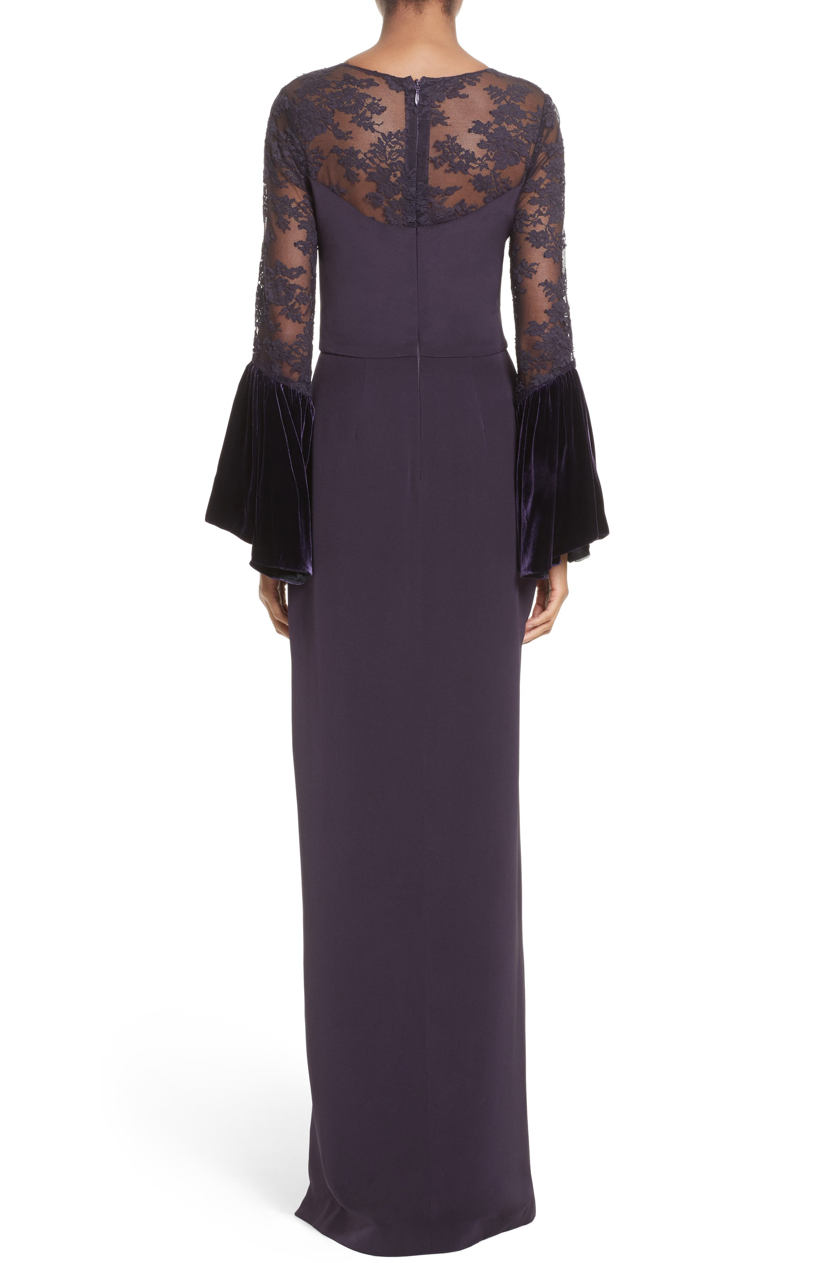 Lace & Velvet Trim Crepe Gown,                             Alternate thumbnail 2, color,                             500
