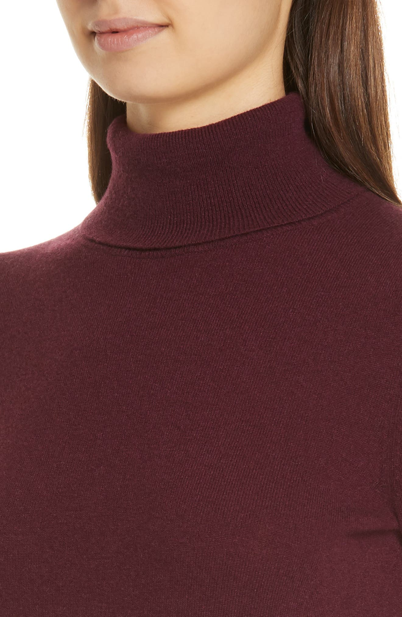 Turtleneck Cashmere Sweater,                             Alternate thumbnail 4, color,                             PURPLE DARK