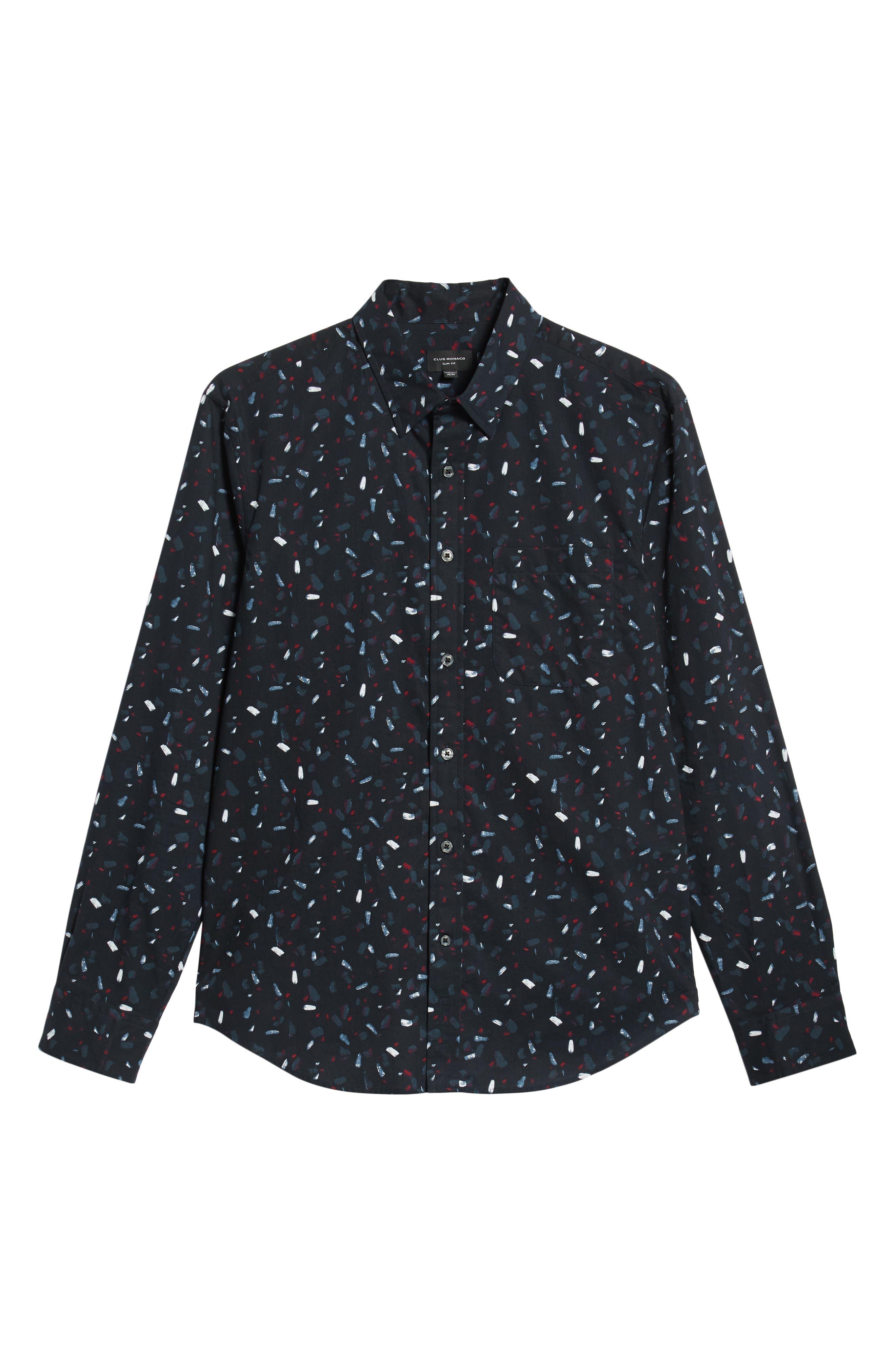 Trim Fit Print Sport Shirt,                             Alternate thumbnail 5, color,                             BLACK MULTI
