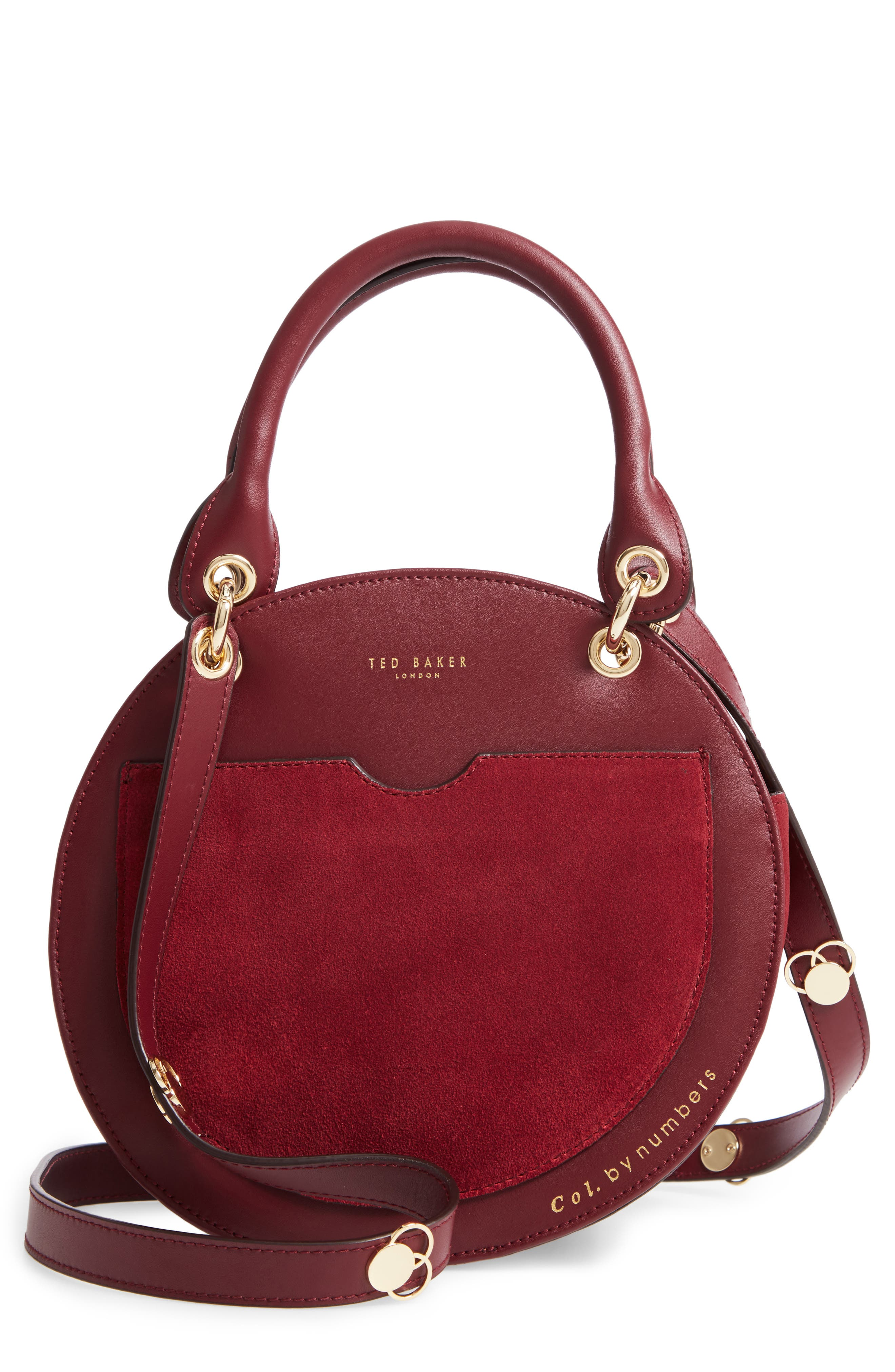Colour By Numbers Sunnie Leather Circle Bag - Blue in Dark Red