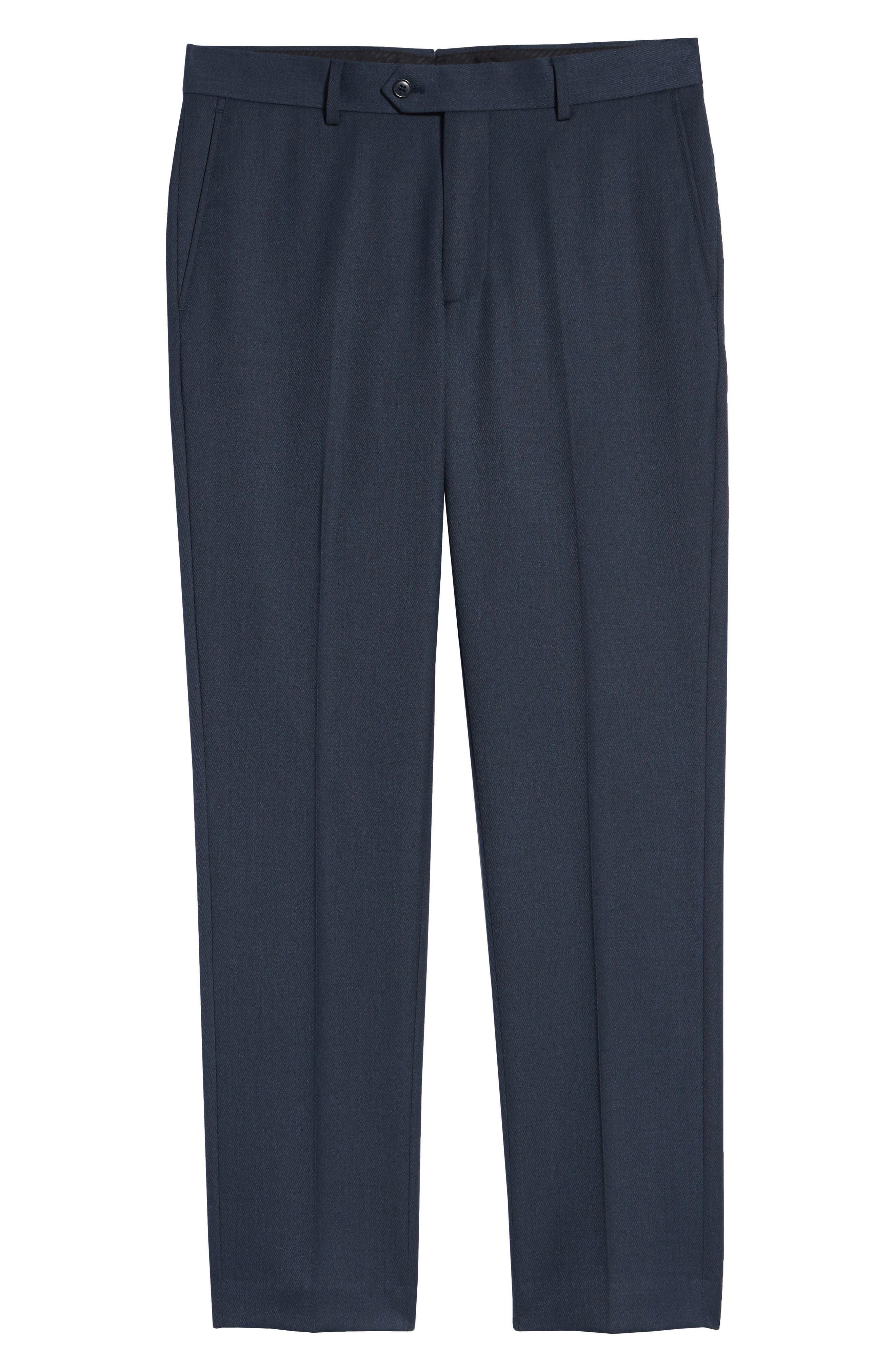 Gains Flat Front Solid Wool Trousers,                             Alternate thumbnail 6, color,                             DARK BLUE