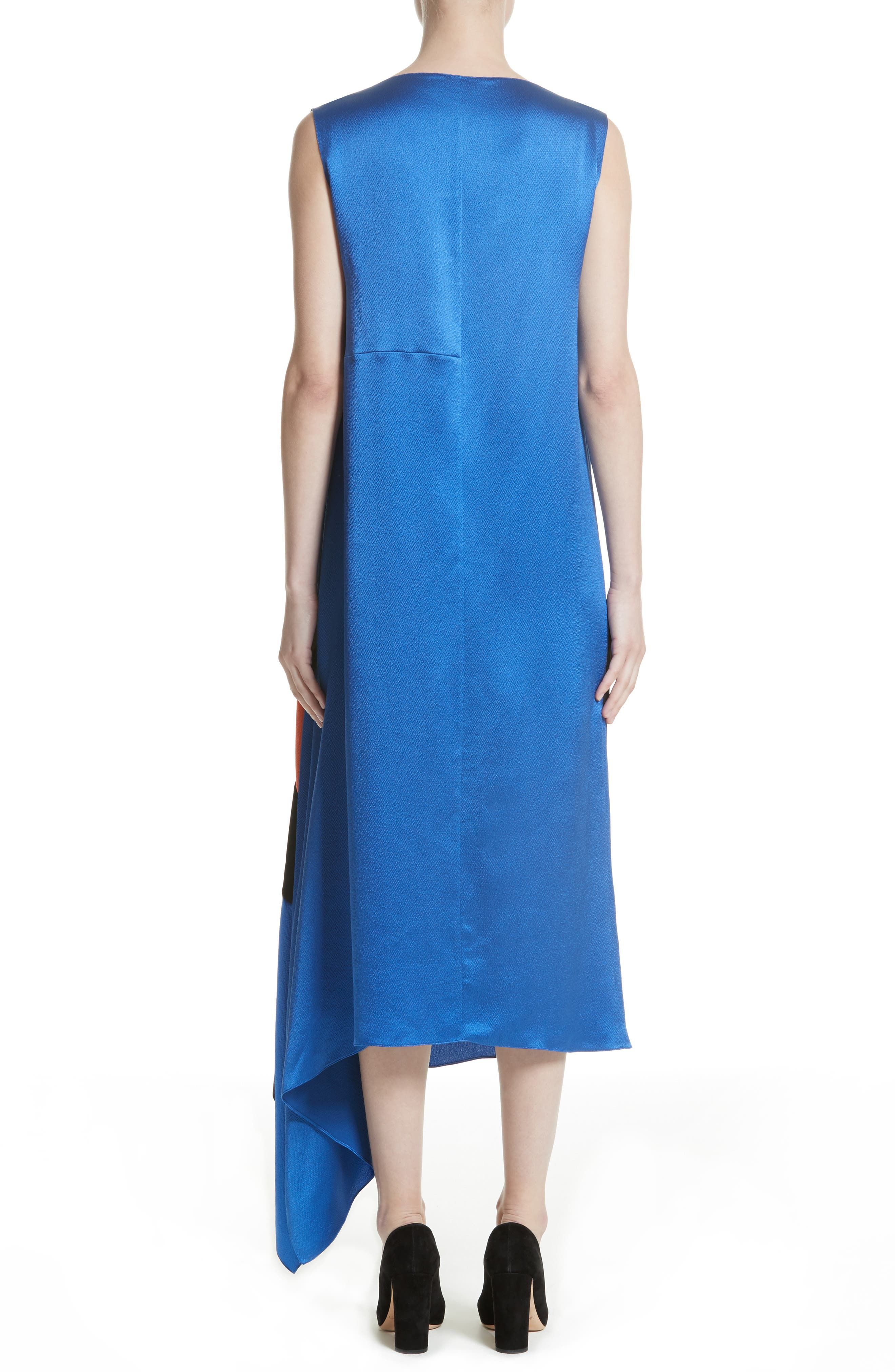 Nakato Hammered Silk, Satin and Crêpe de Chine Midi Dress,                             Alternate thumbnail 2, color,                             400