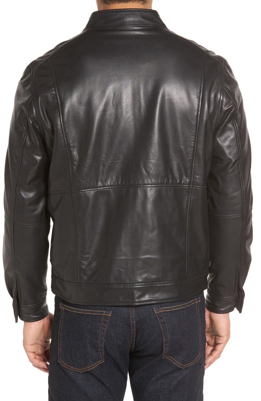Leather & Wool Reversible Jacket,                             Alternate thumbnail 2, color,                             001