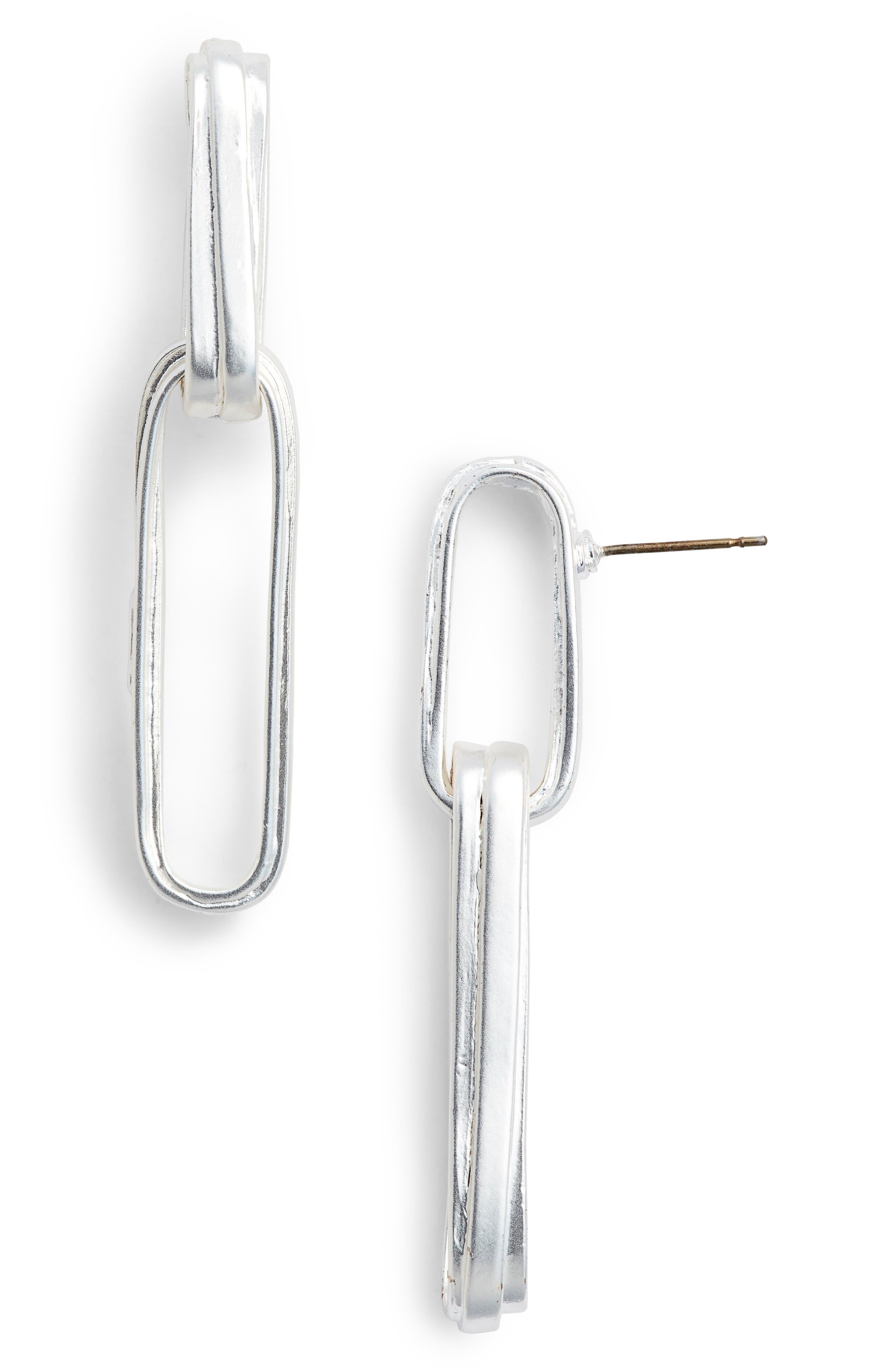 Angelique Link Drop Earrings,                         Main,                         color, SILVER