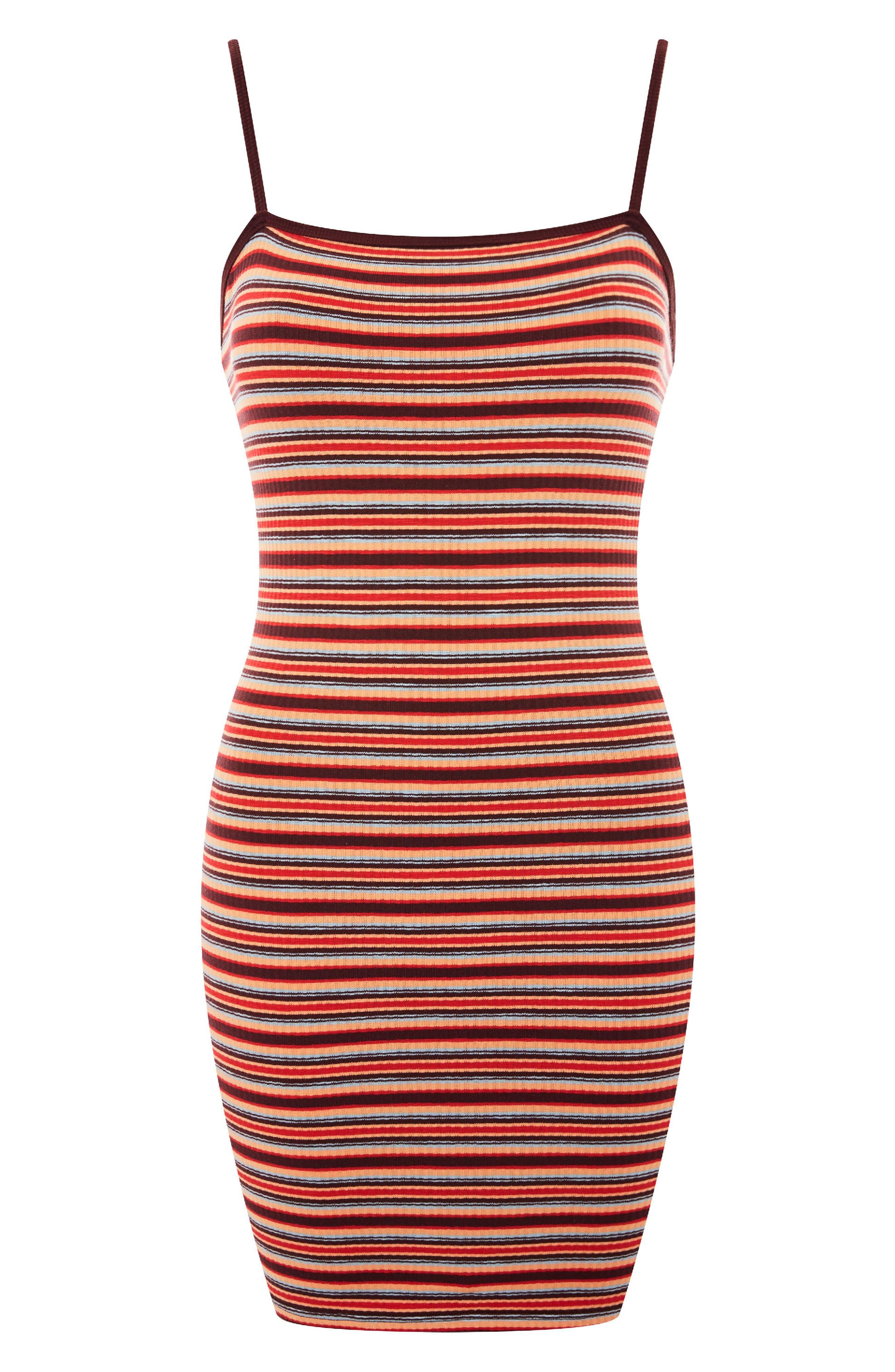 Stripe Body-Con Minidress,                             Alternate thumbnail 3, color,                             601