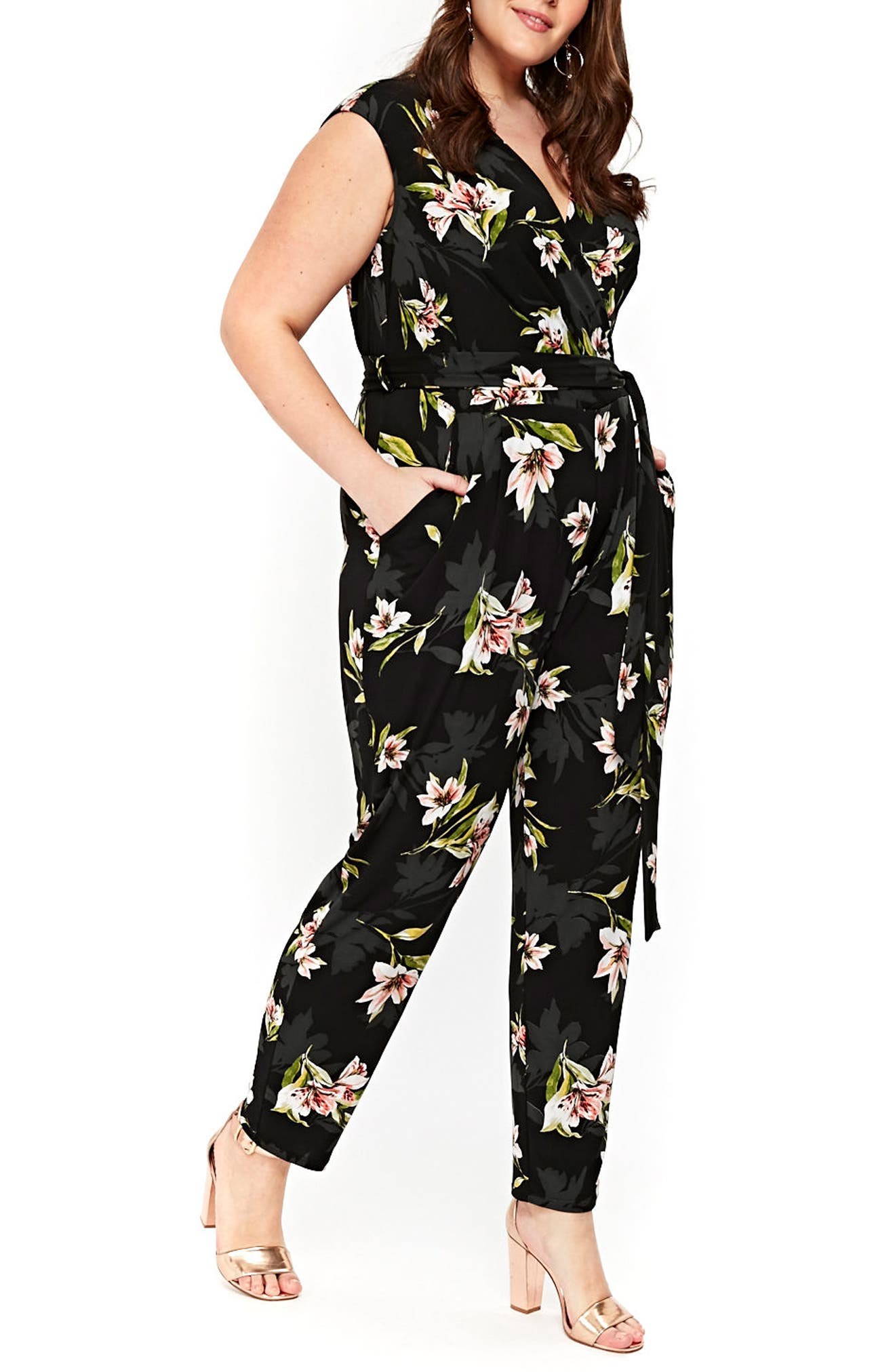 Floral Print Wrap Jumpsuit,                             Alternate thumbnail 3, color,                             006