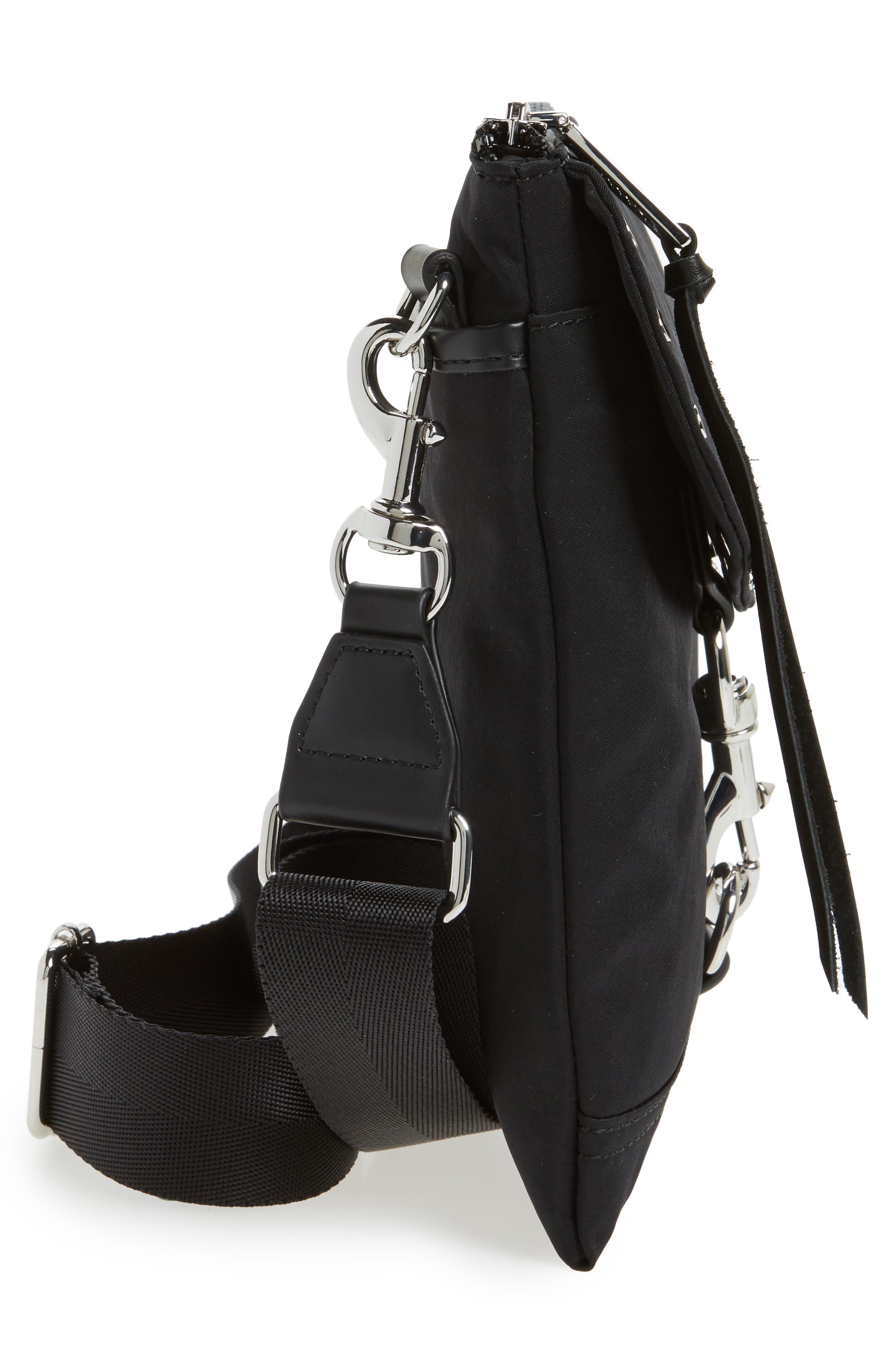 Nylon Flap Crossbody Bag,                             Alternate thumbnail 5, color,                             001